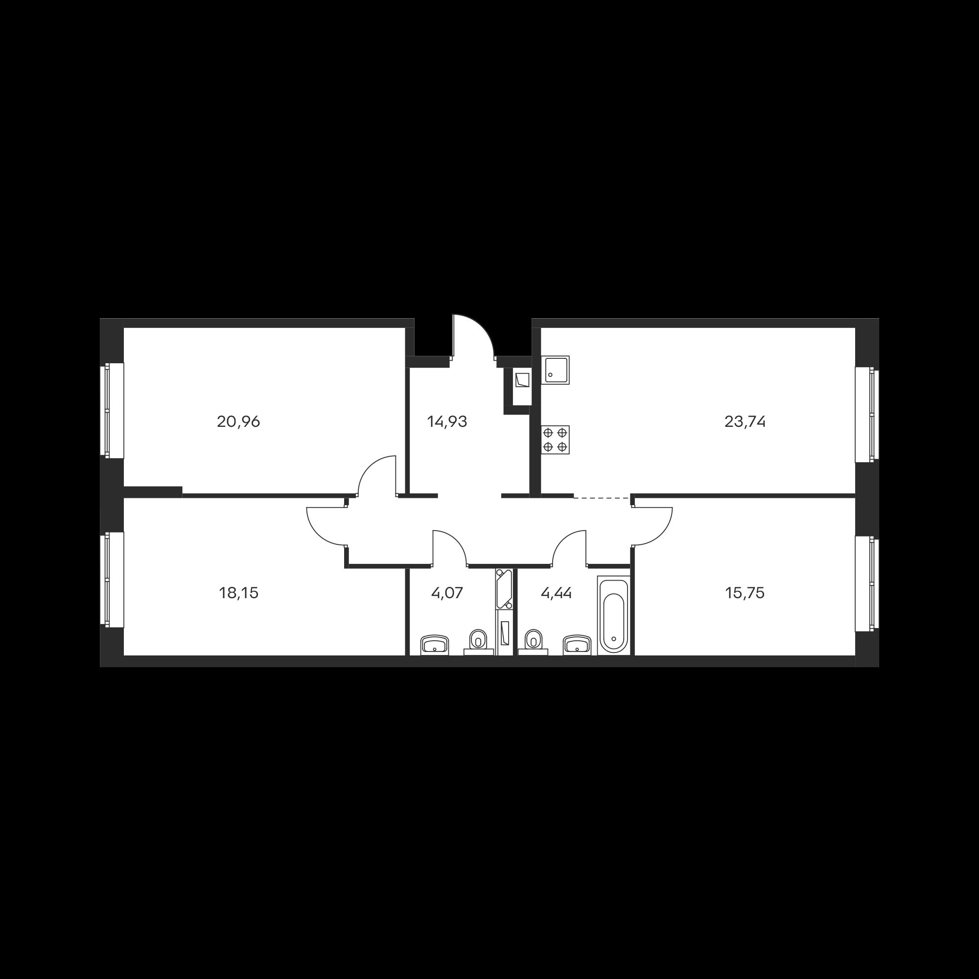 3-комнатная 102.04 м²