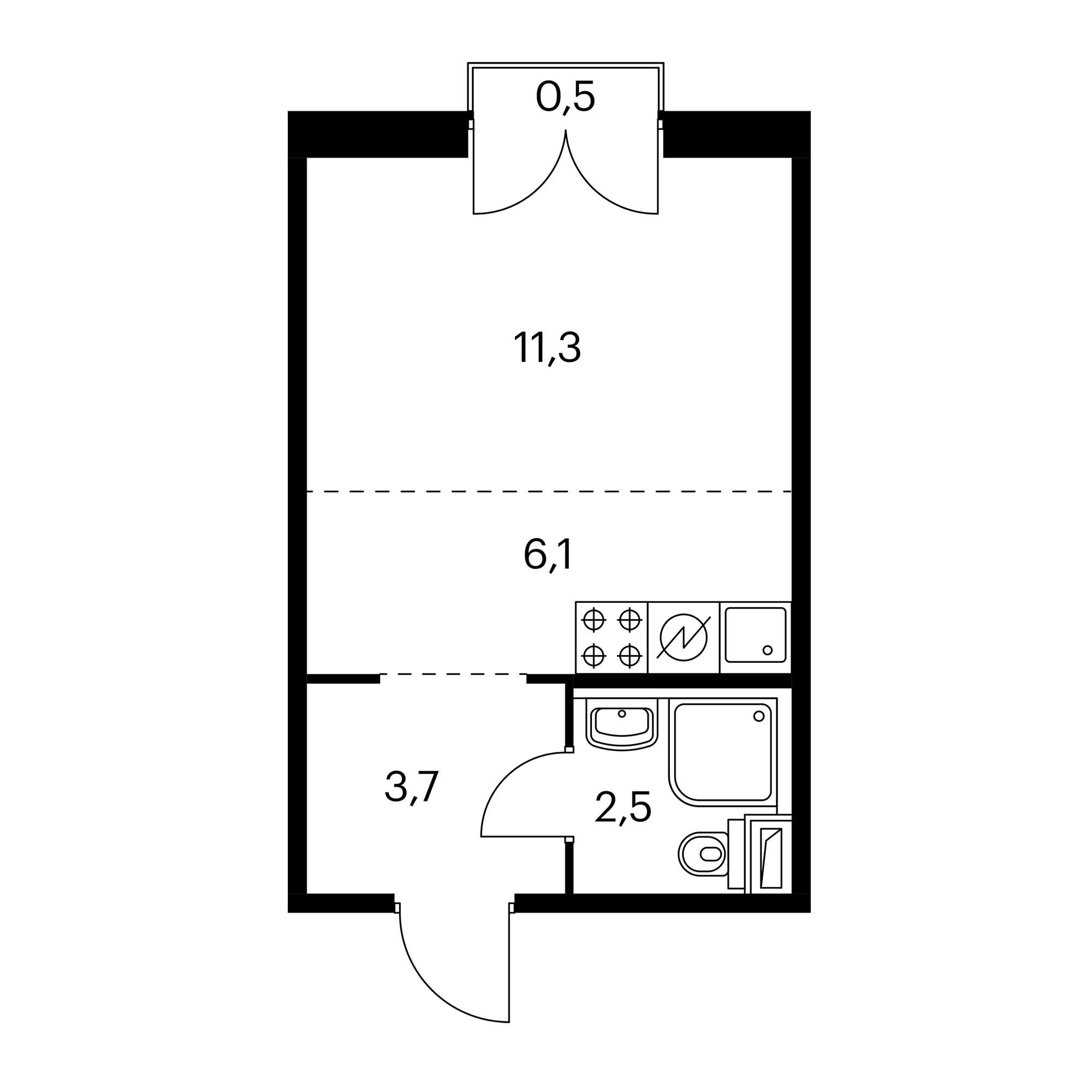 Студия 23.8 м²
