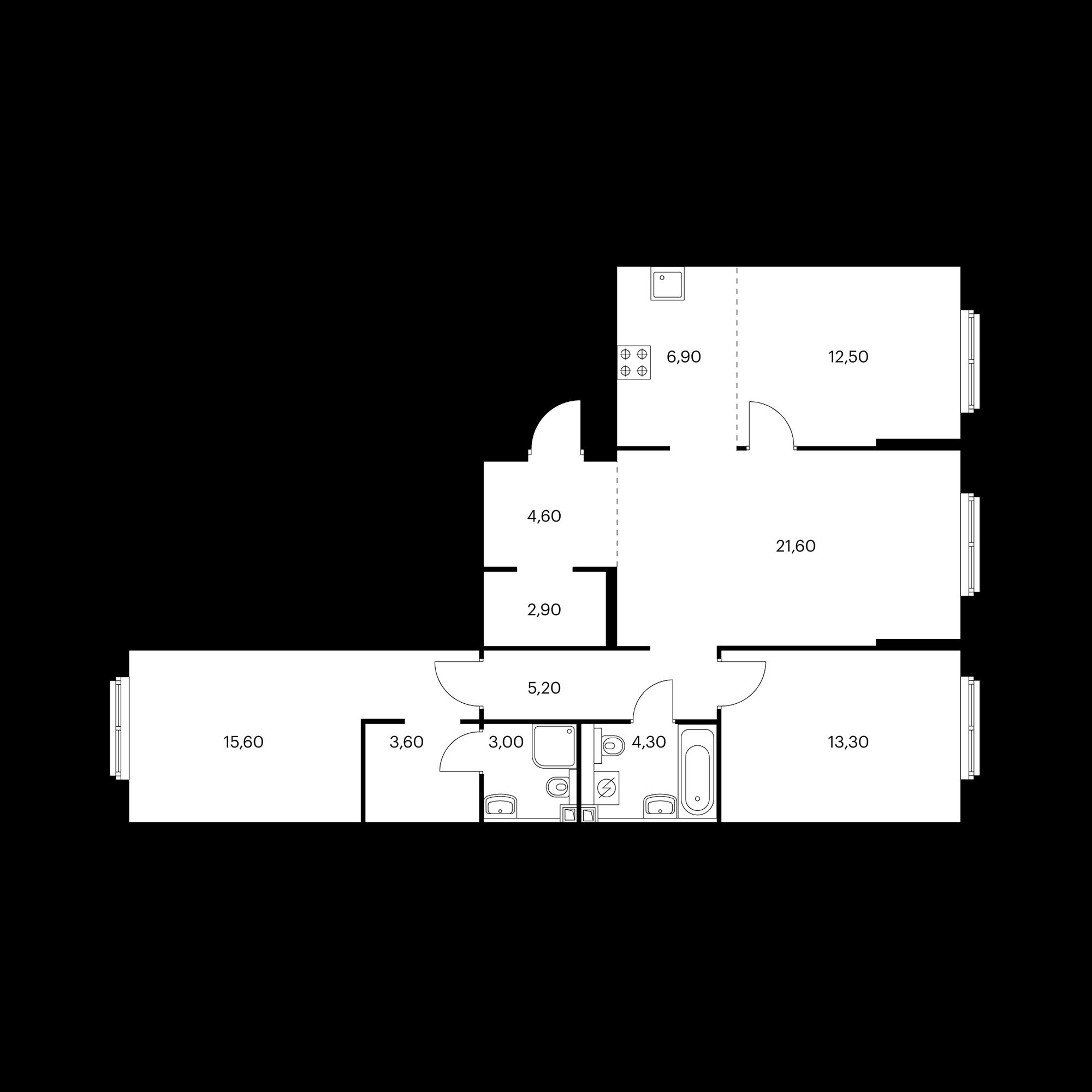 4-комнатная 93.1 м²