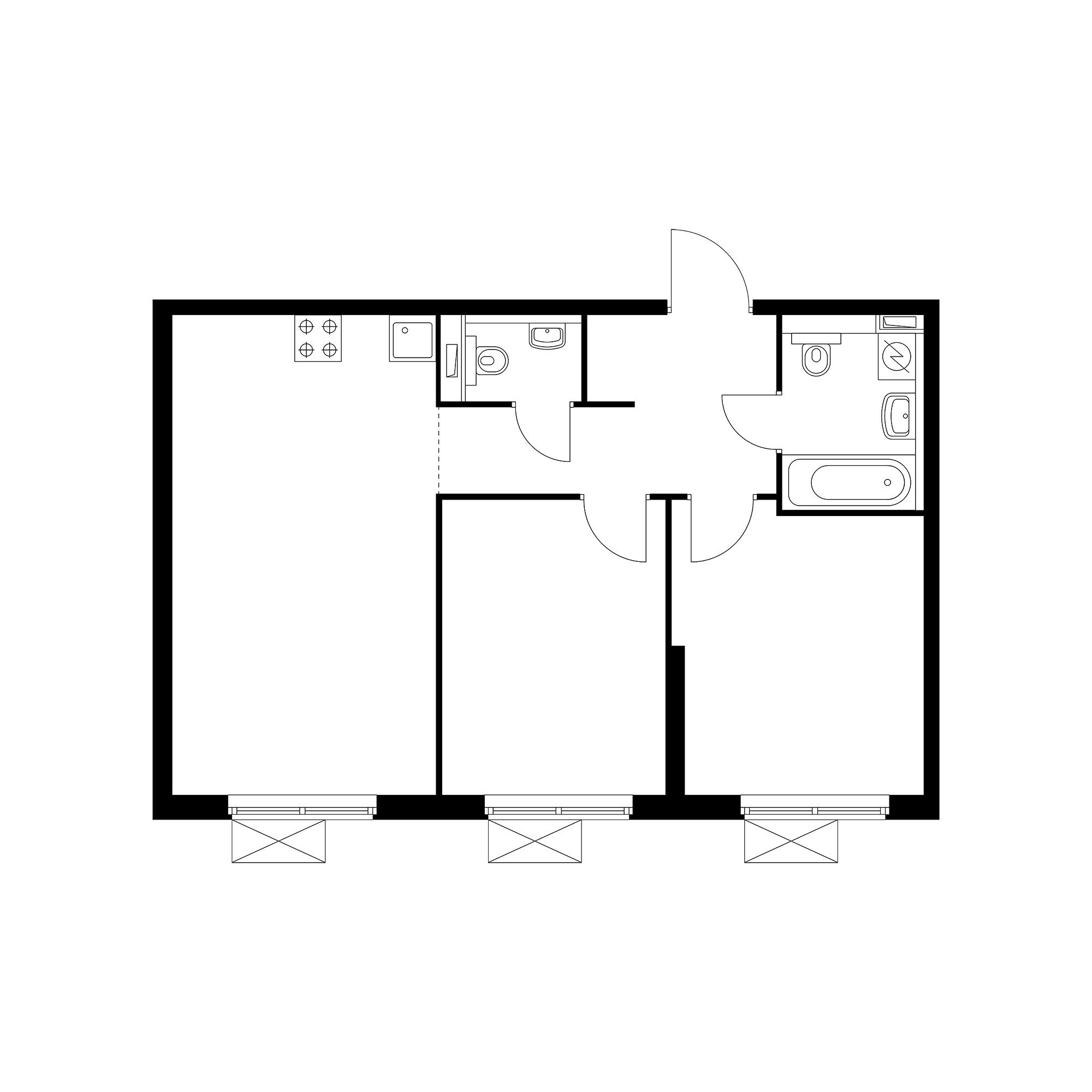 2-комнатная 56.64  м²