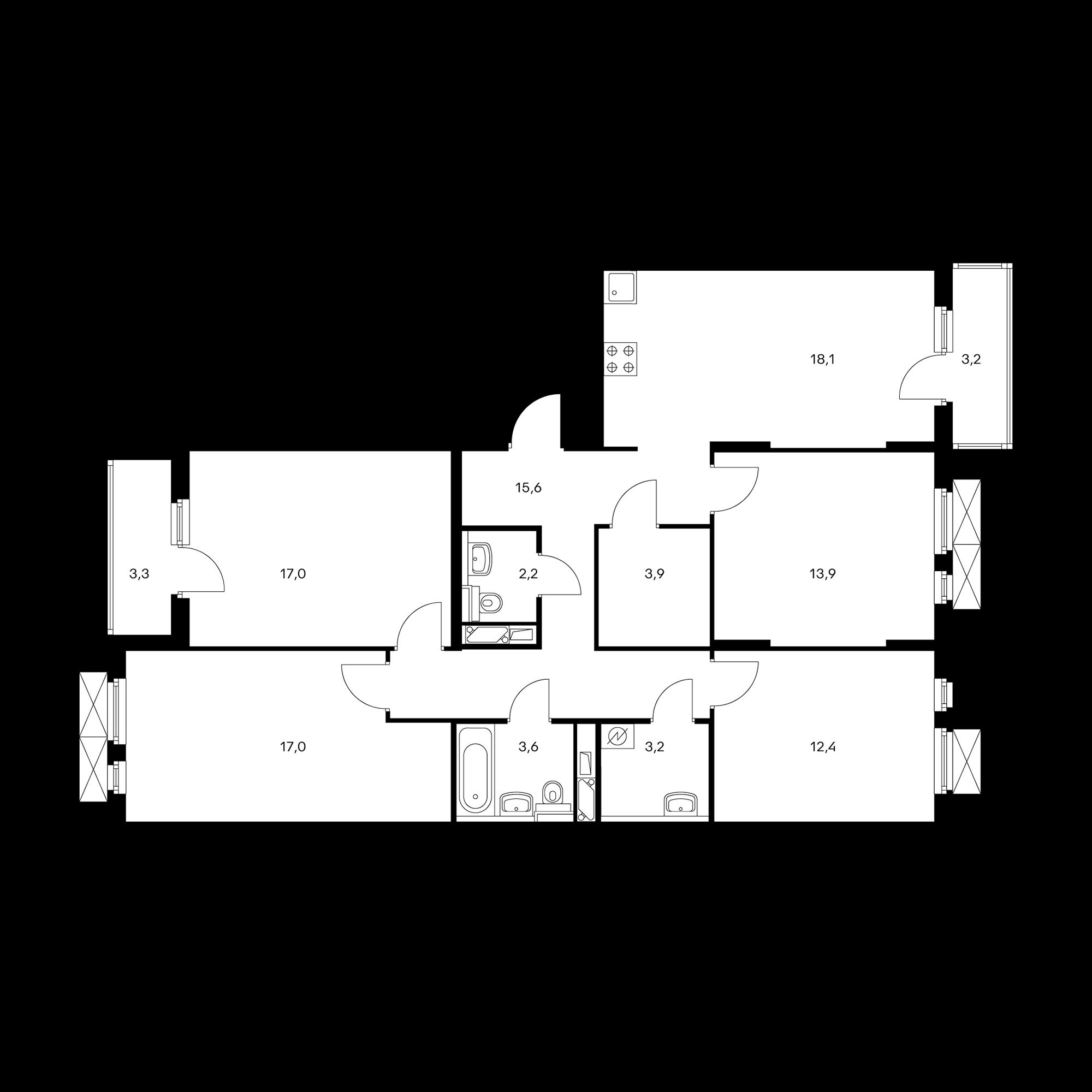 4-комнатная 110.7 м²