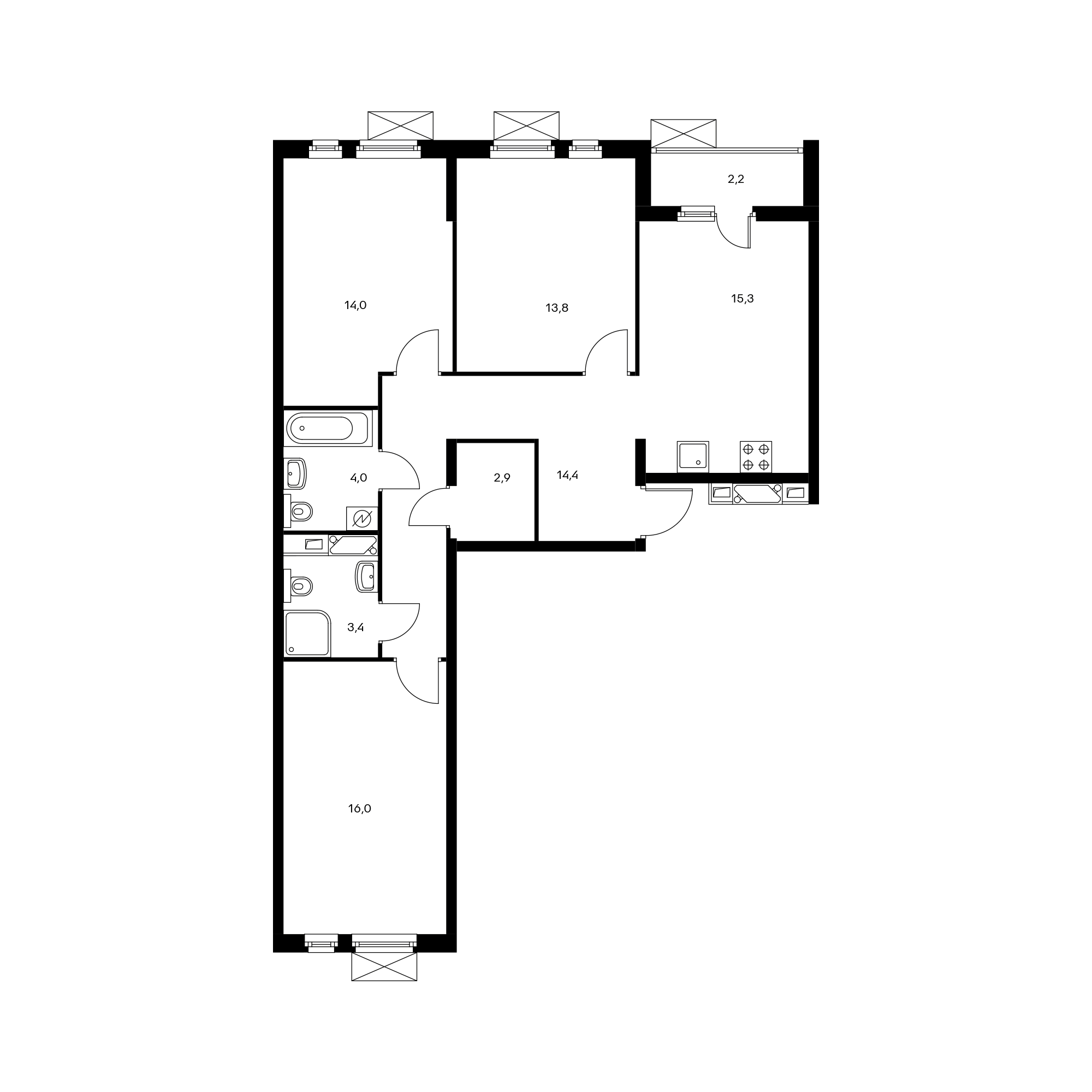 3-комнатная 84.9 м²