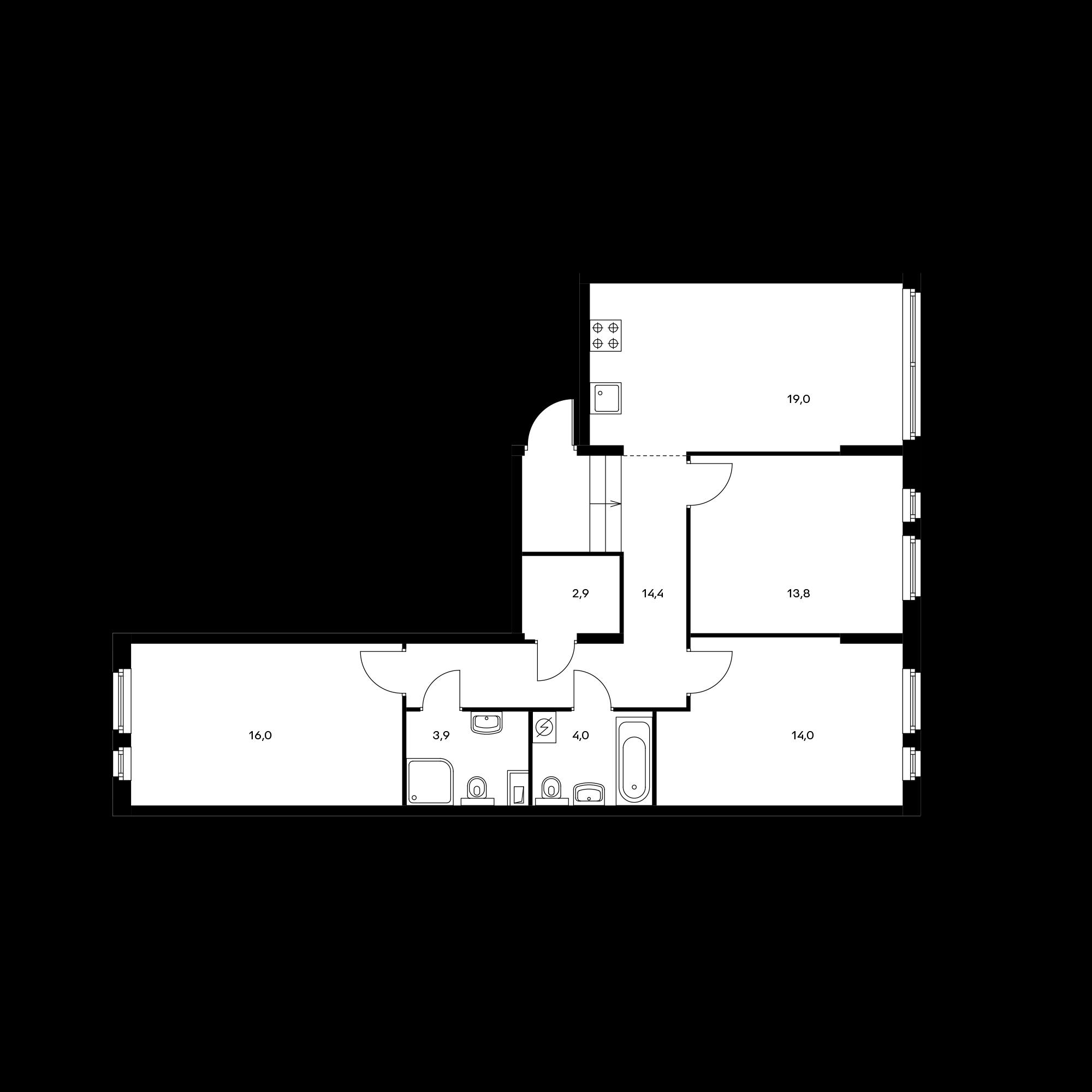 3-комнатная 88 м²