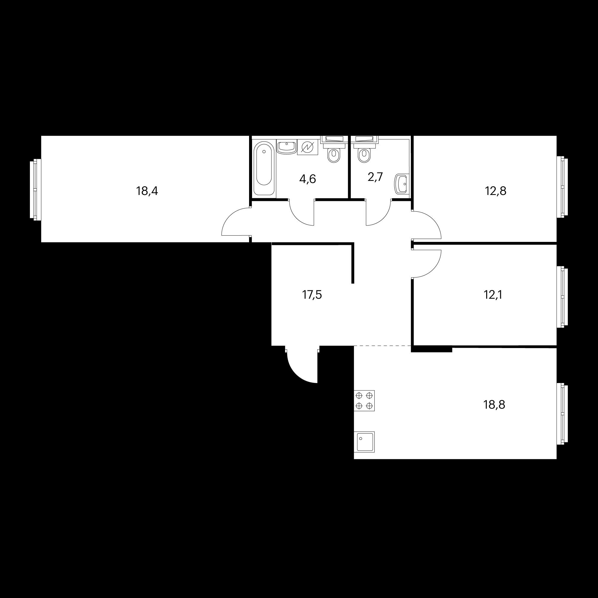 3-комнатная 86.9 м²