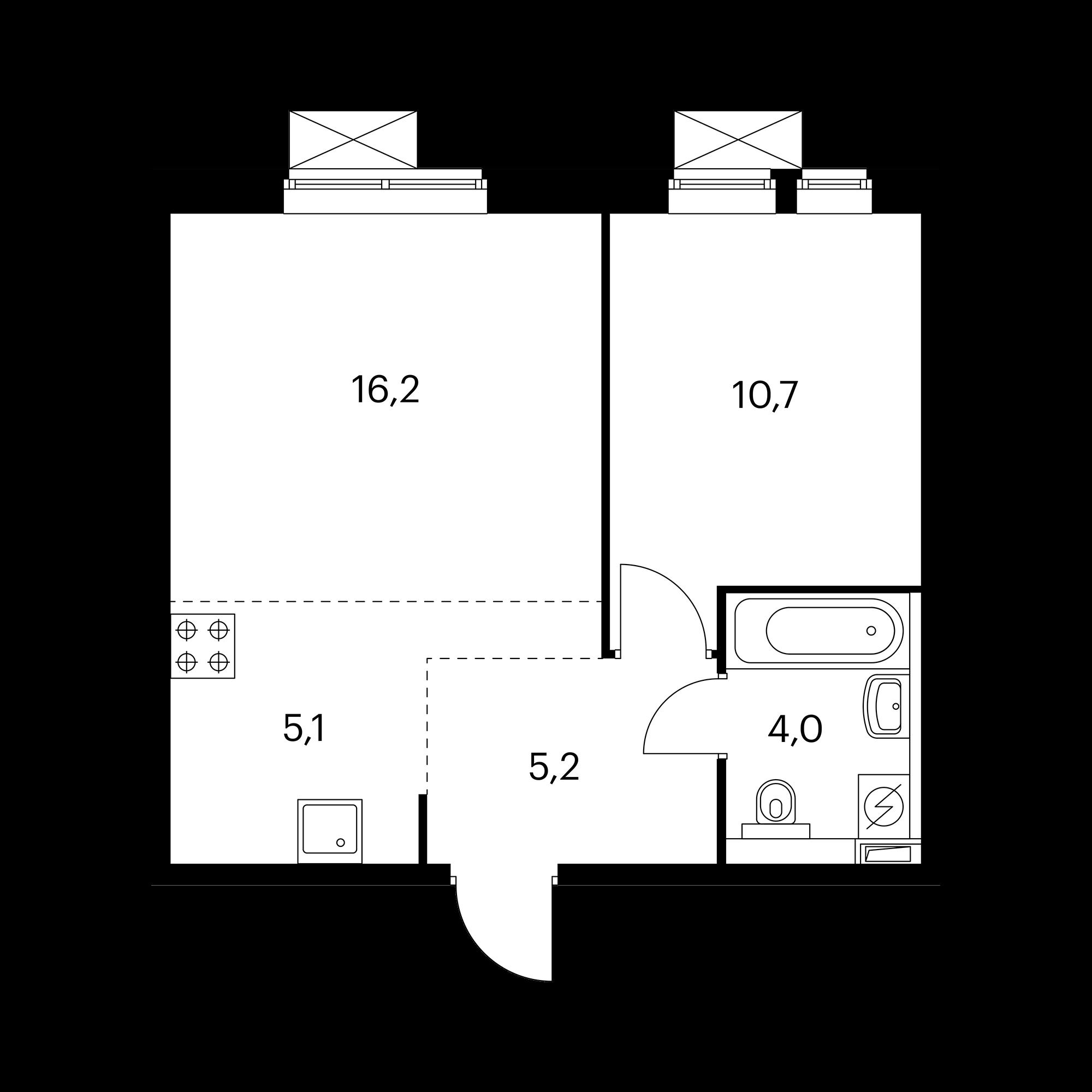 2-комнатная 41.2 м²