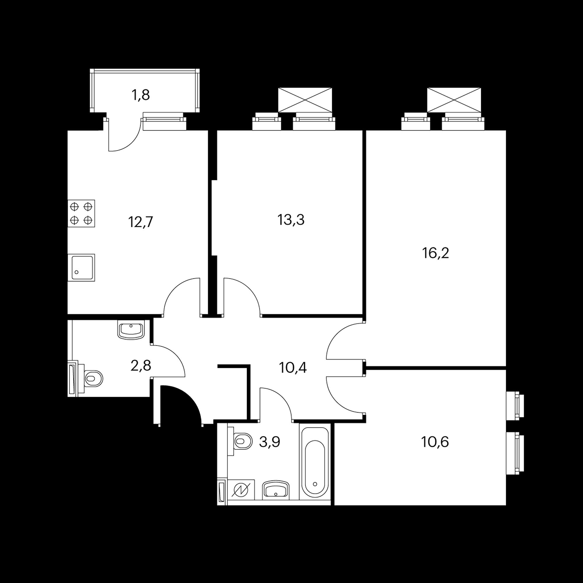 3-комнатная 70.5 м²