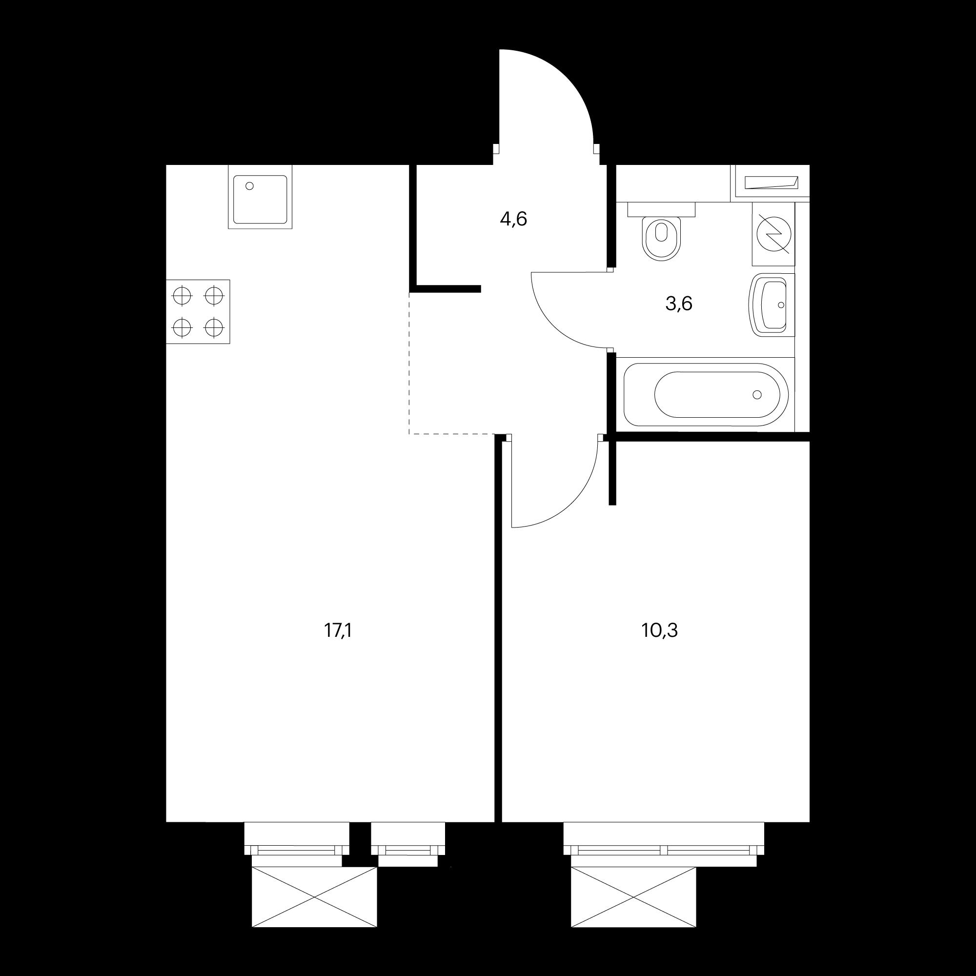 2-комнатная 35.6 м²