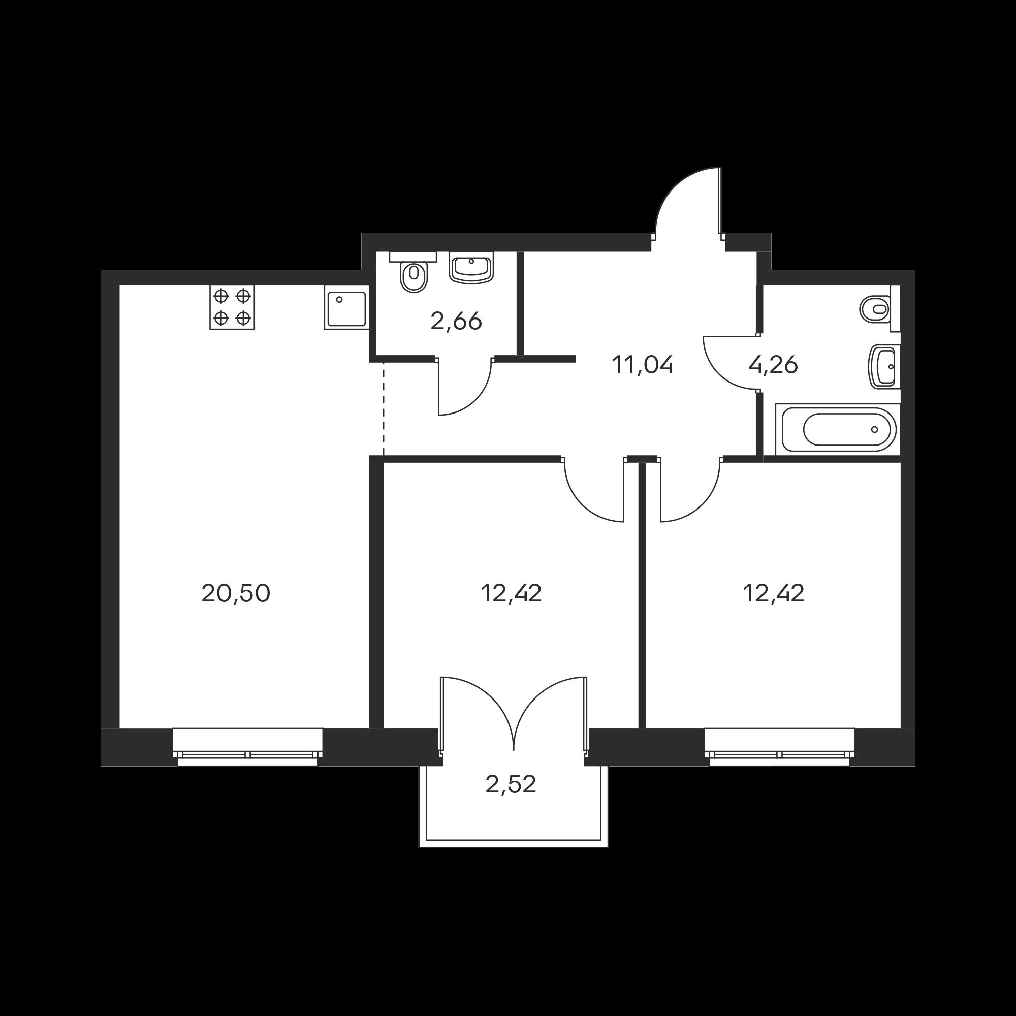 2-комнатная 64.06  м²