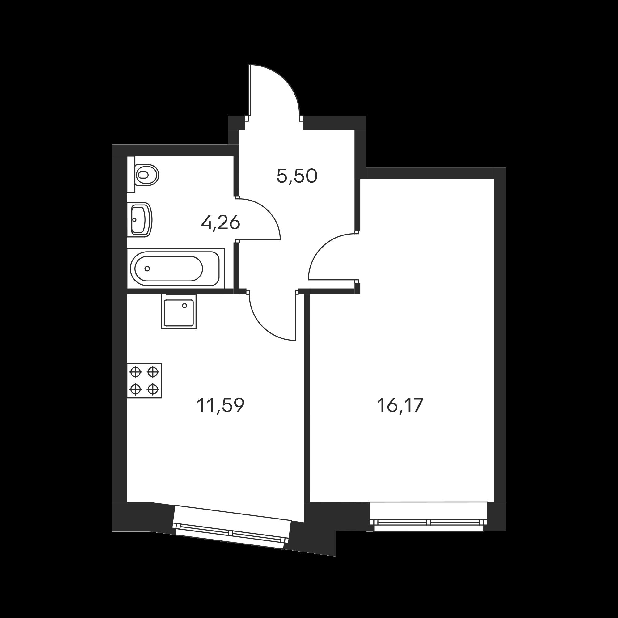 1-комнатная 37.52  м²
