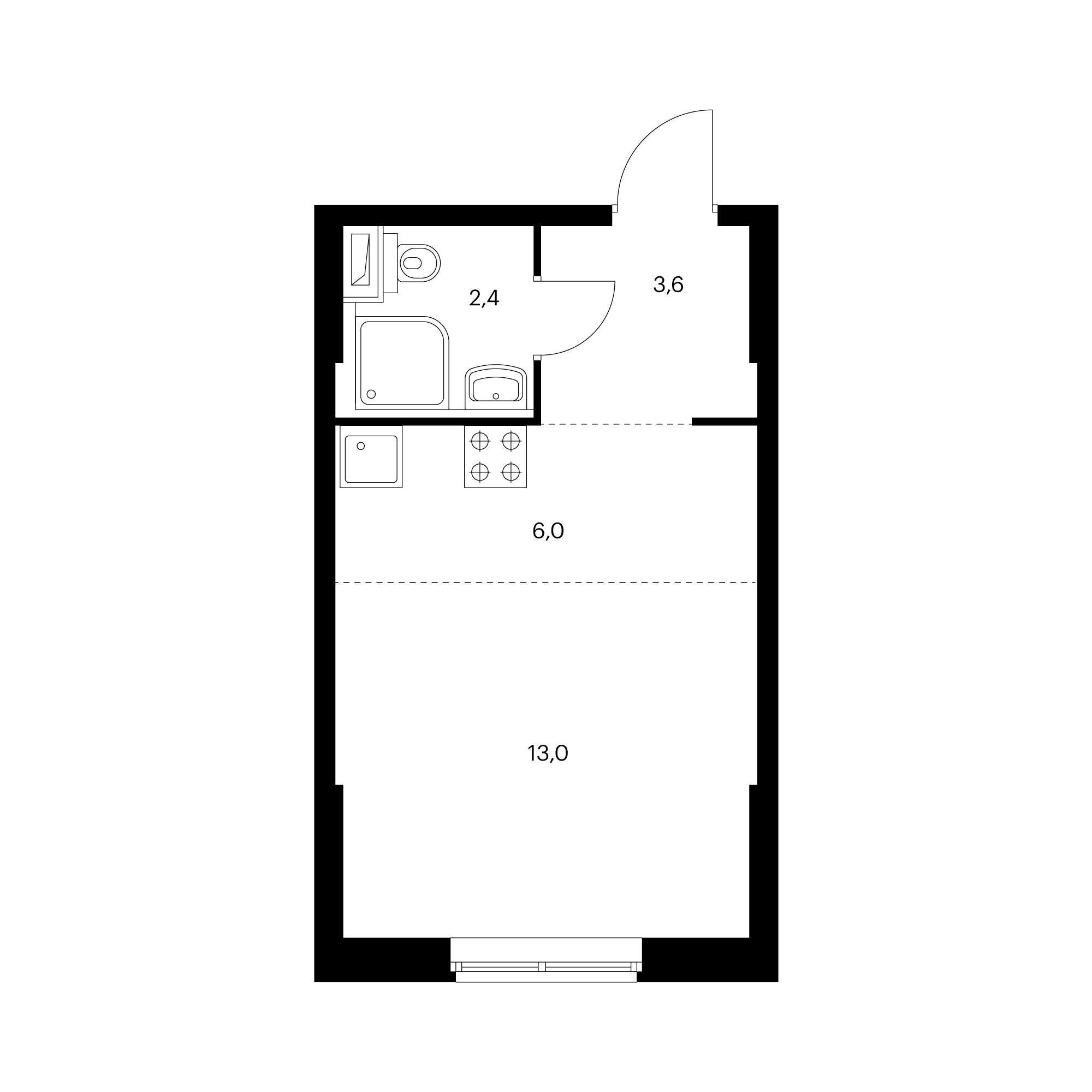 Студия 25 м²
