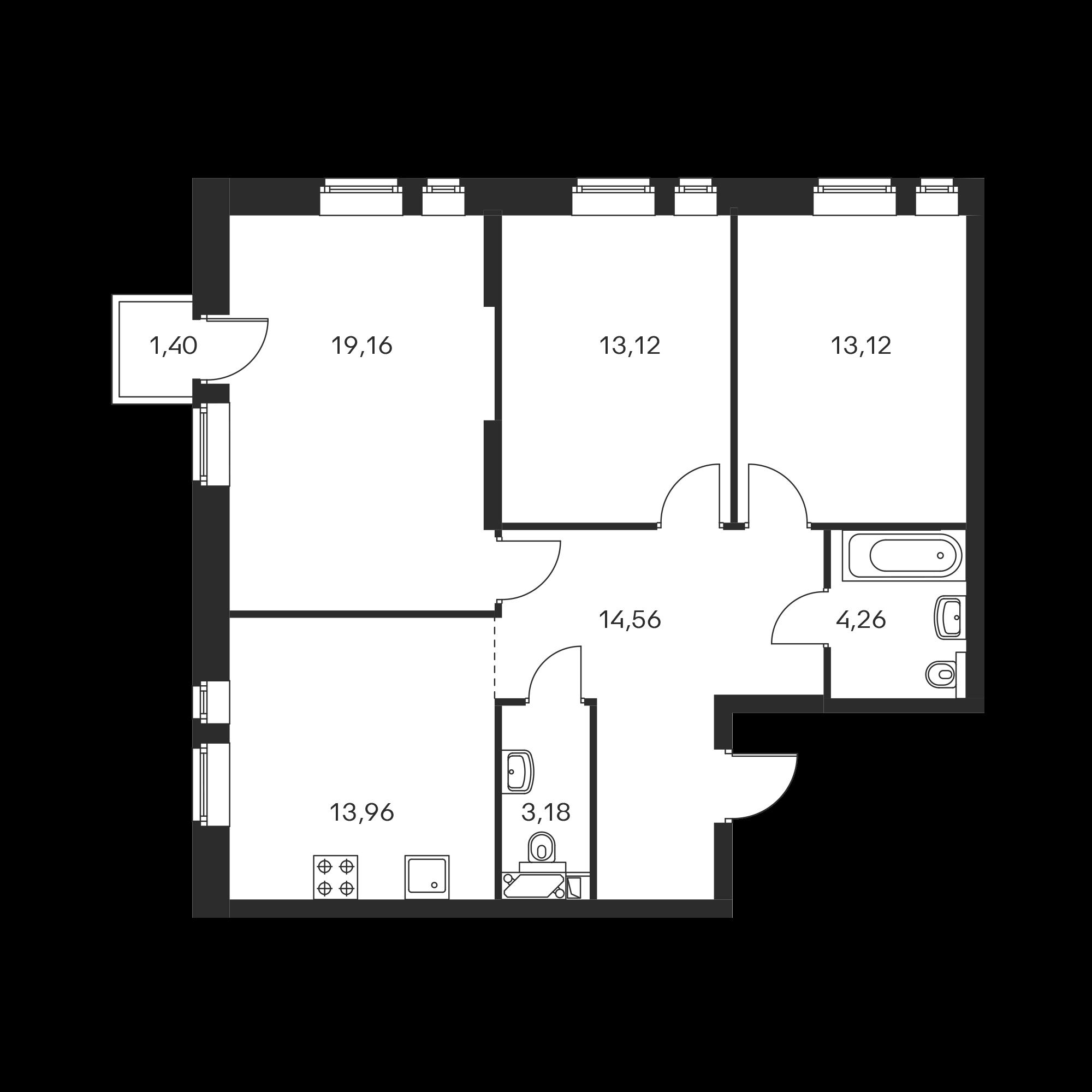 3-комнатная 81.78 м²