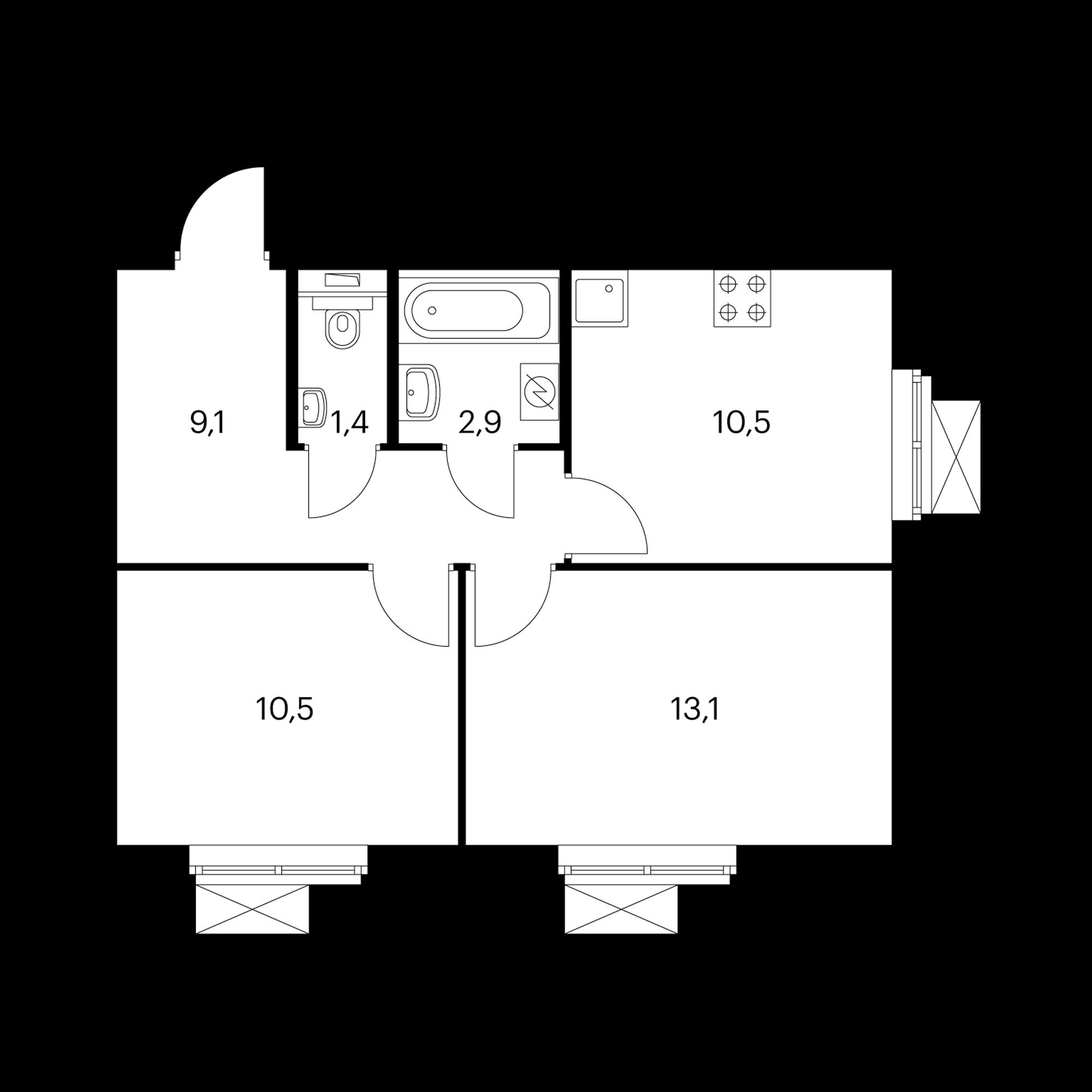 2-комнатная 47.5 м²