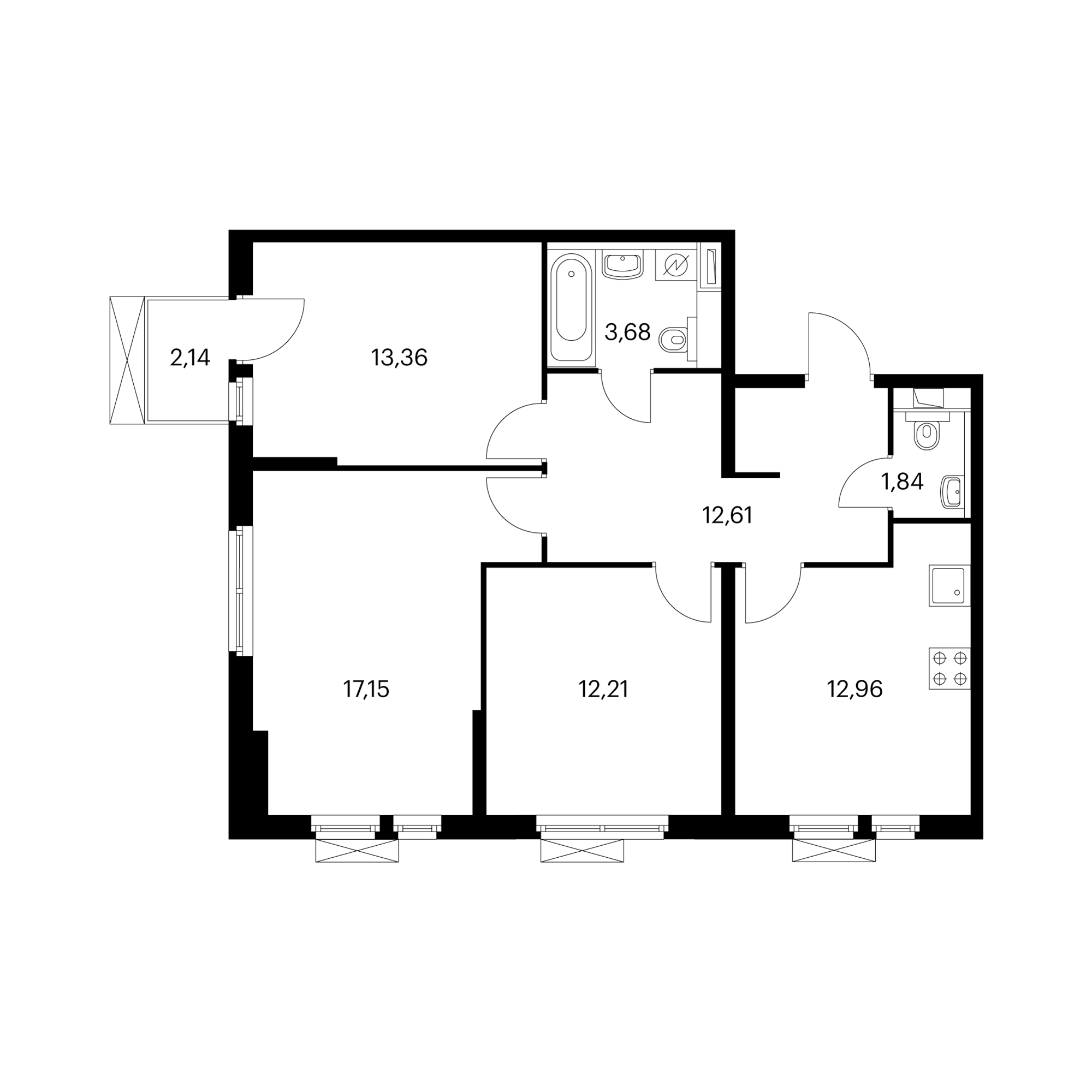 3-комнатная 74.37 м²