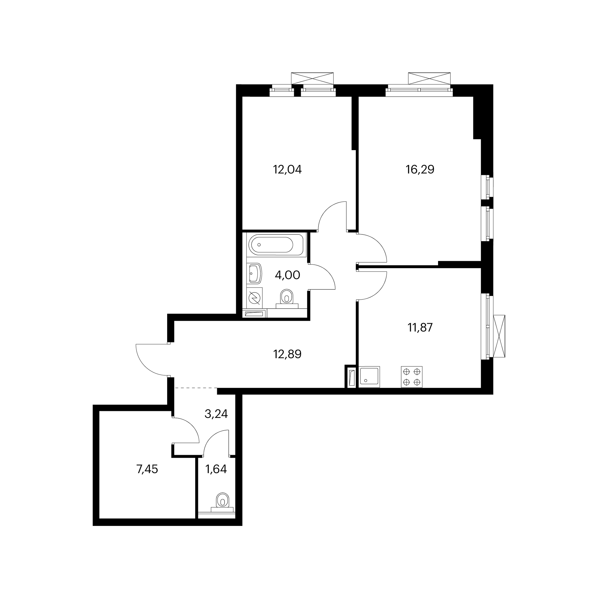 2-комнатная 69.42  м²