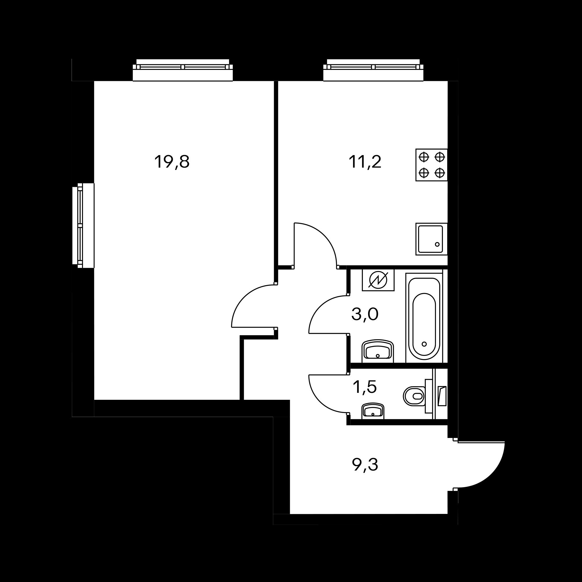 1-комнатная 44.8  м²