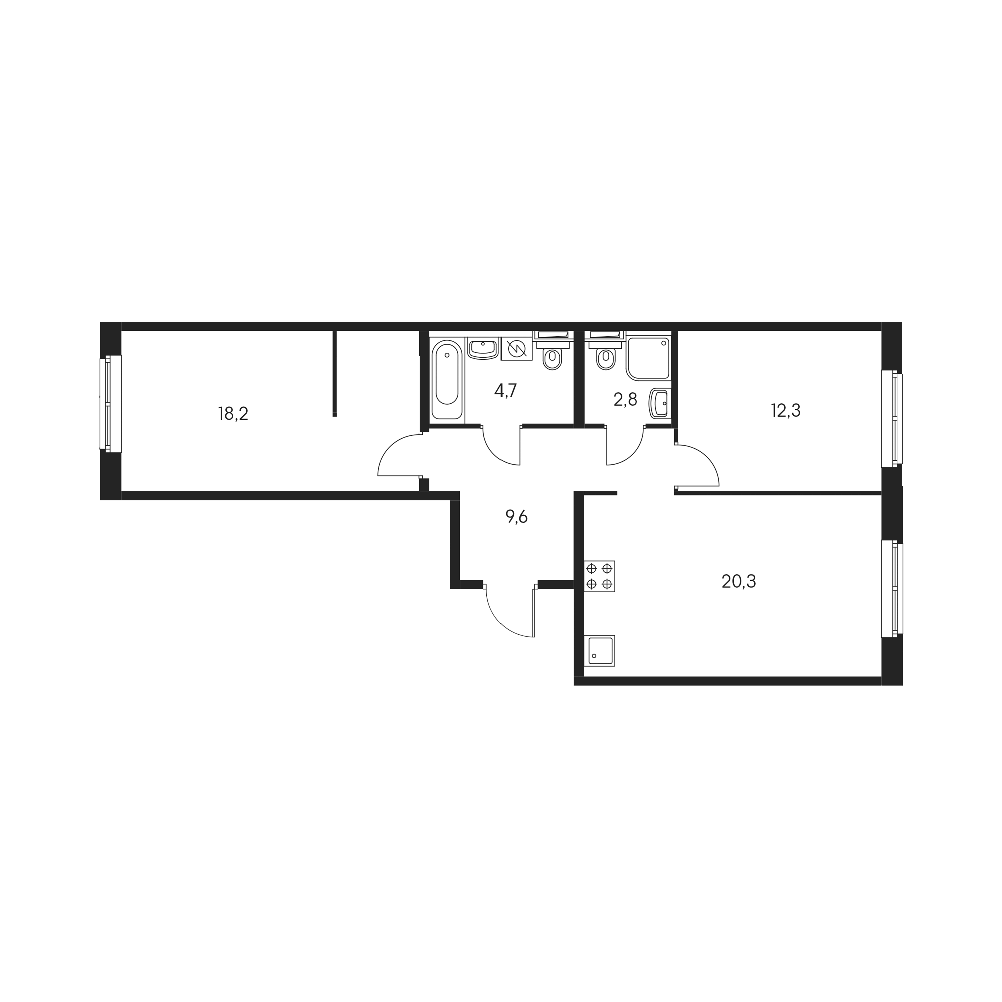 2-комнатная 67.4 м²