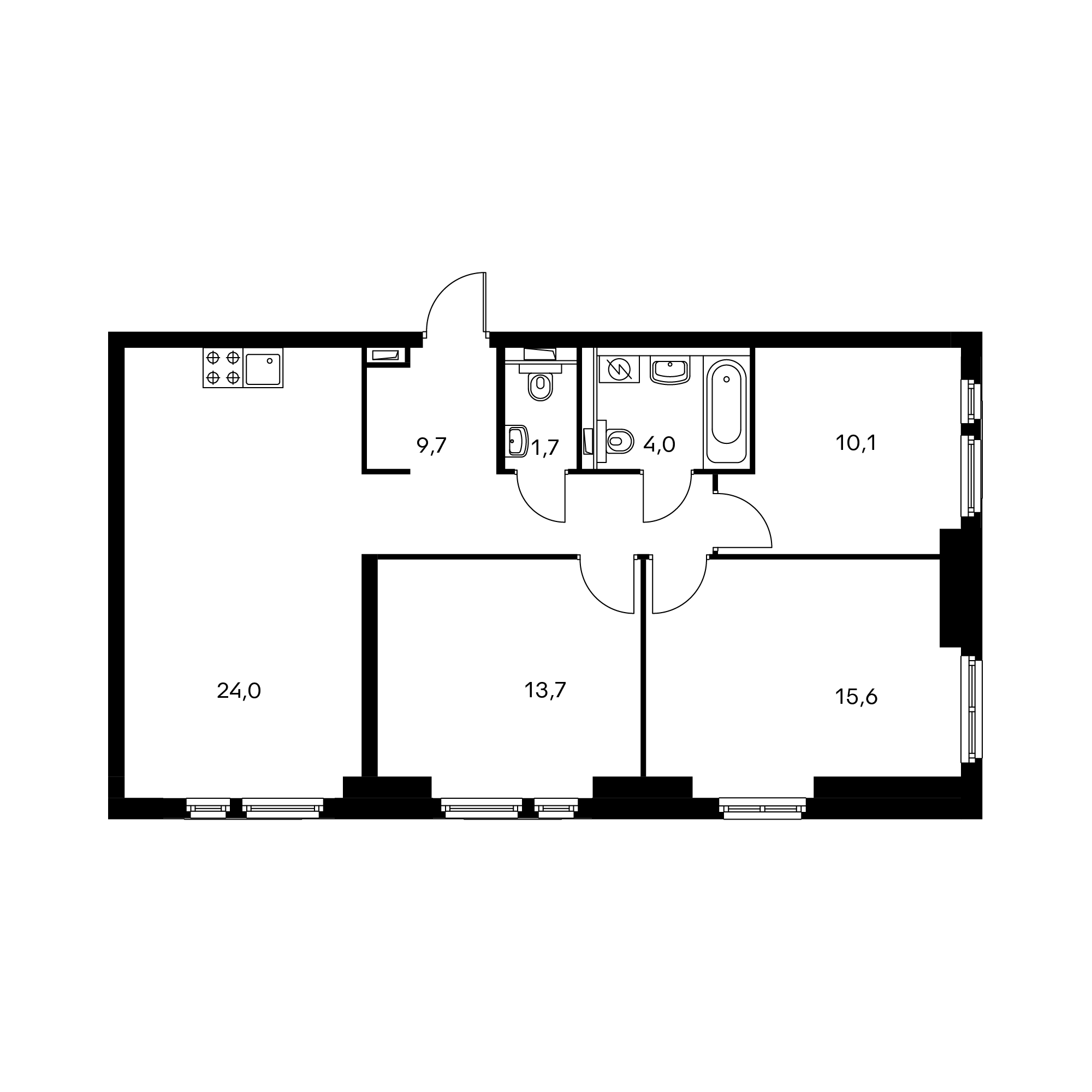 3-комнатная 78.9  м²