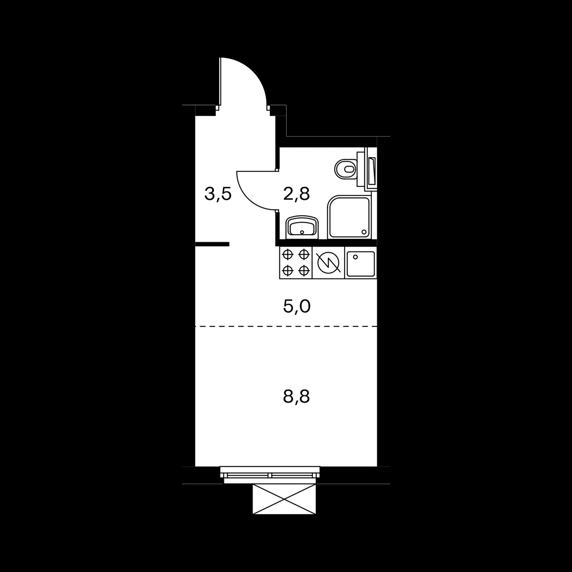 Студия 20.1  м²
