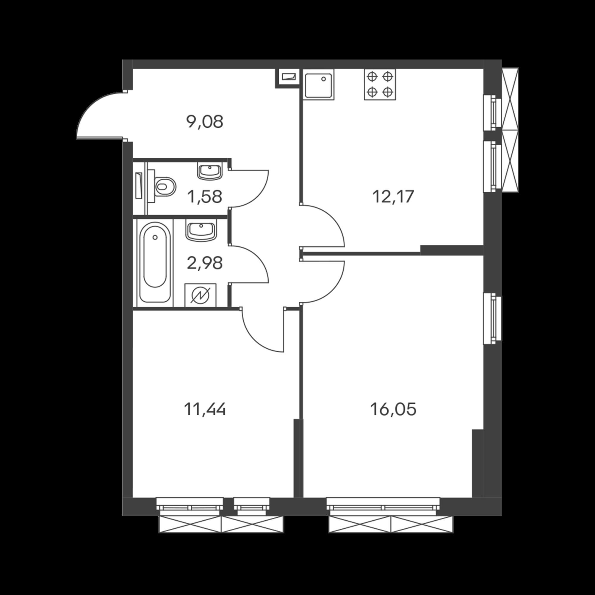 2-комнатная 53.3  м²