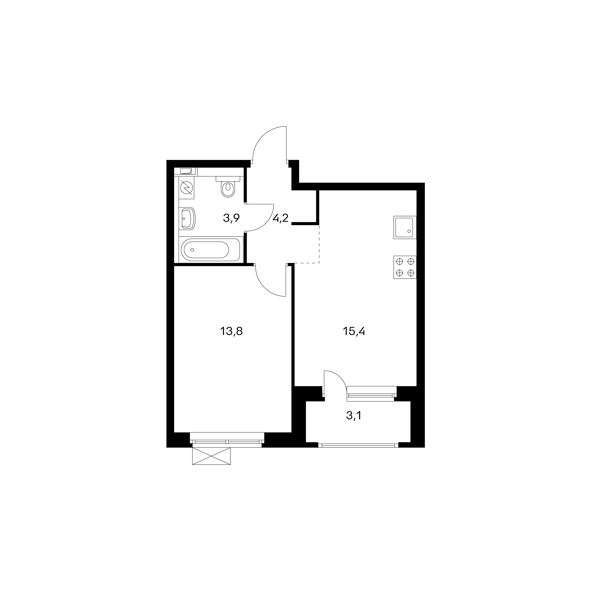 1-комнатная 38.8 м²