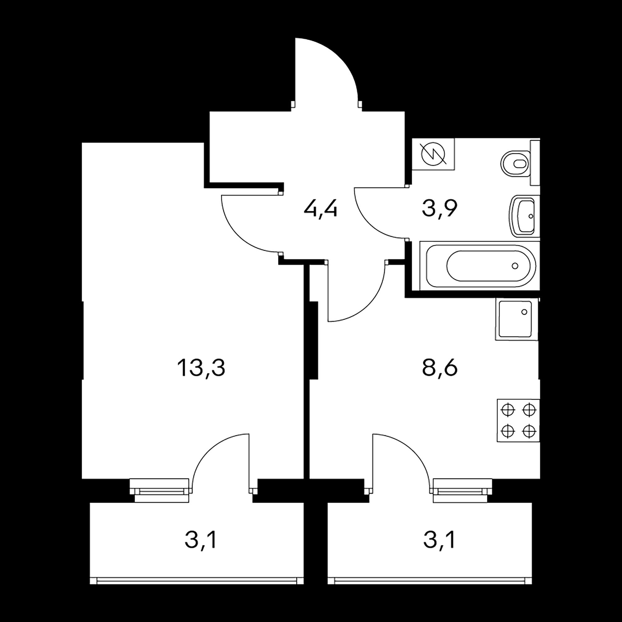 1-комнатная 33.4  м²
