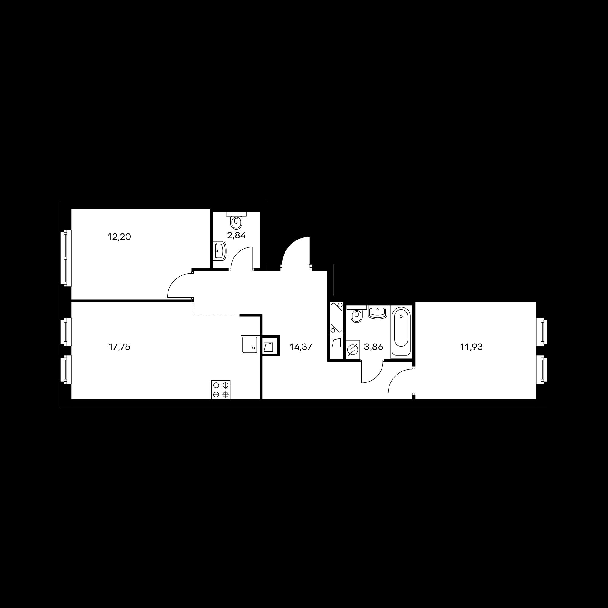 2-комнатная 62.95 м²