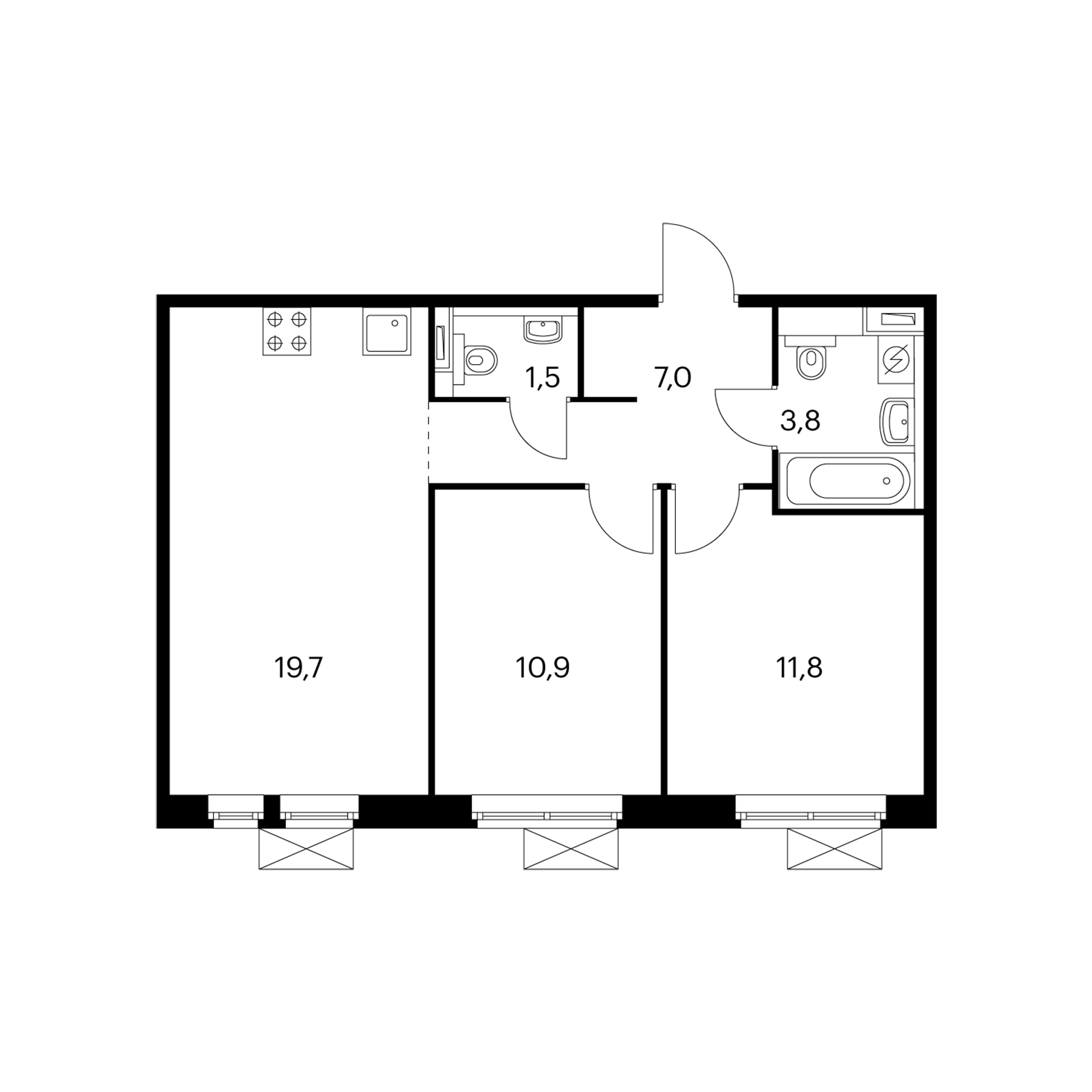 2-комнатная 55.5  м²