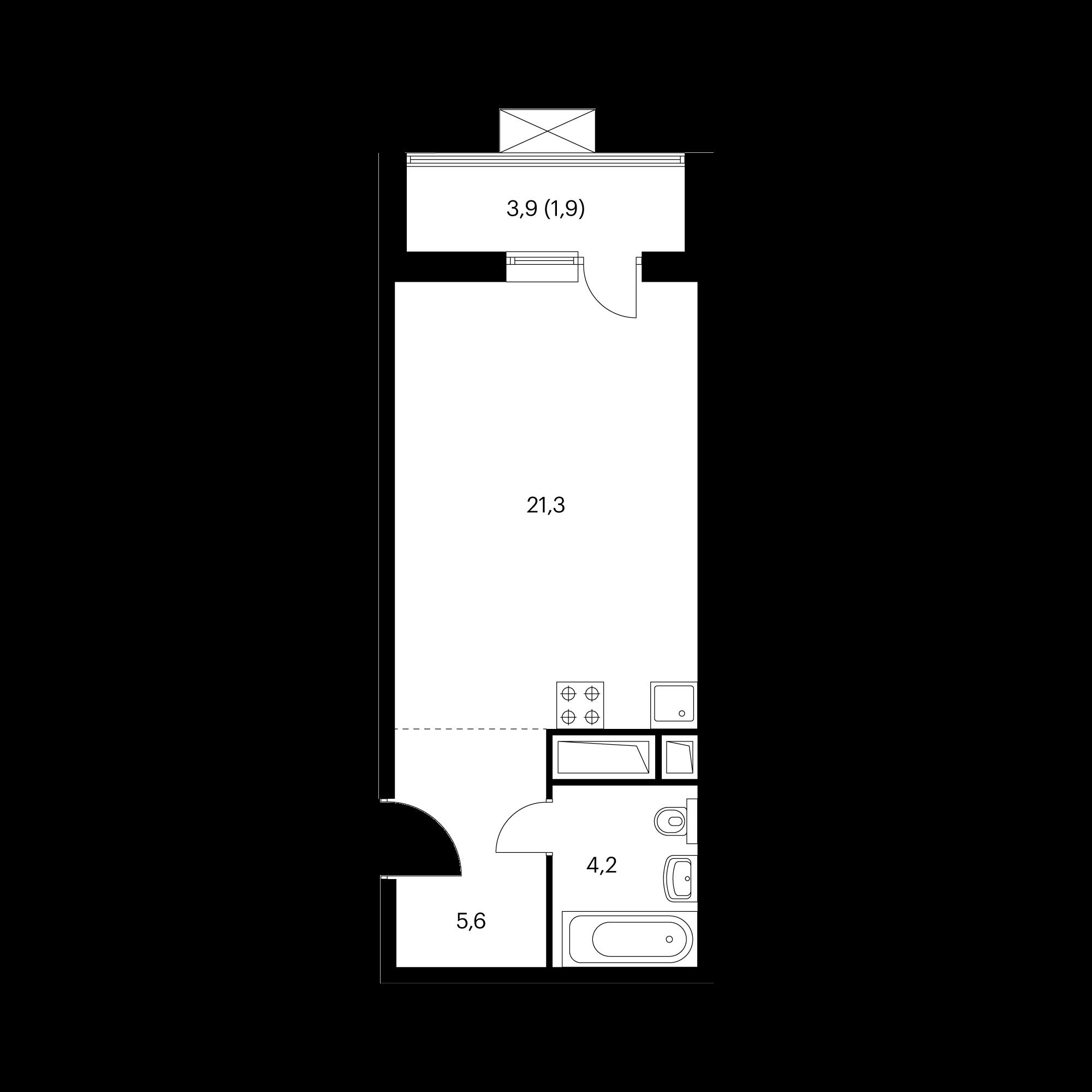 Студия 32.6  м²