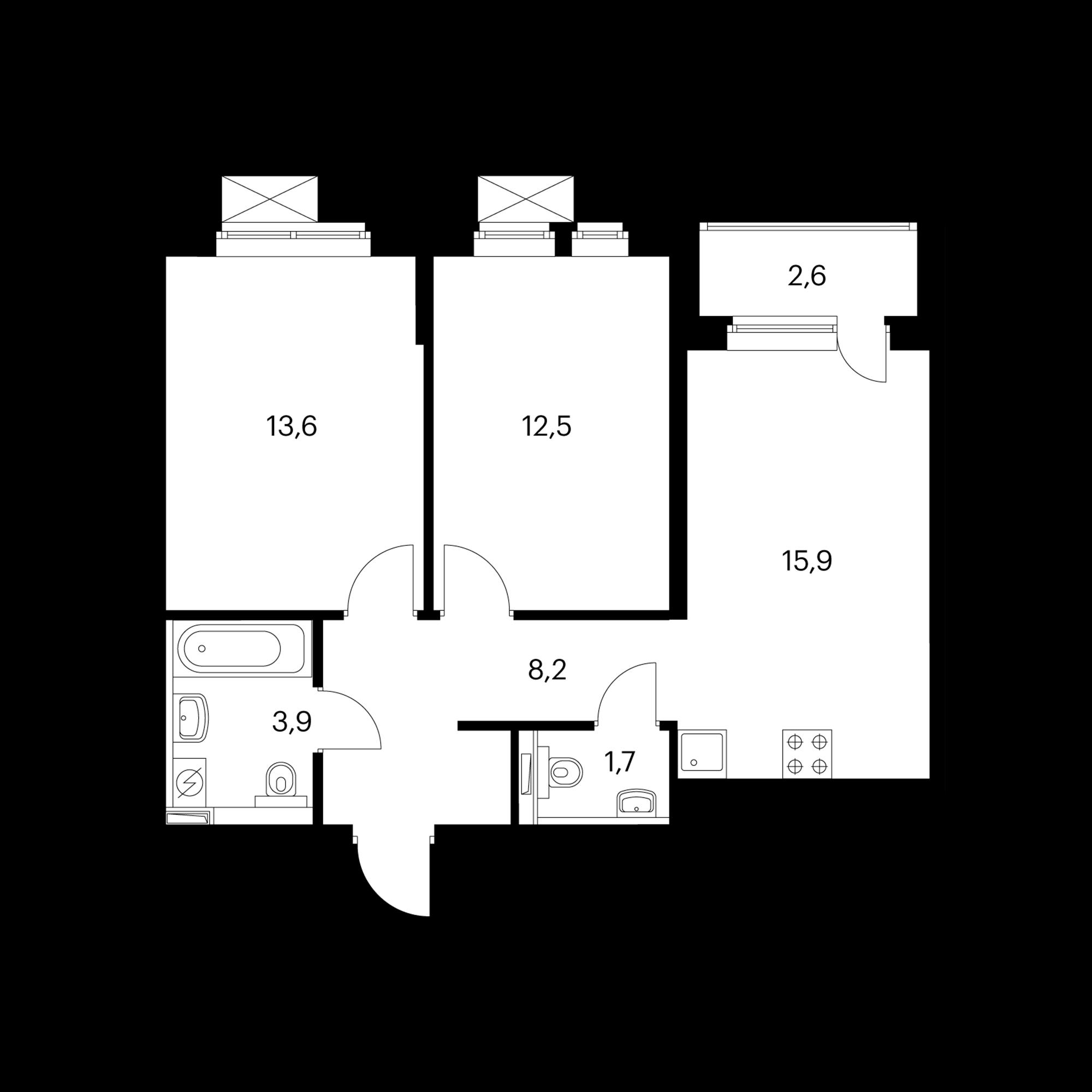 2-комнатная 57.1 м²