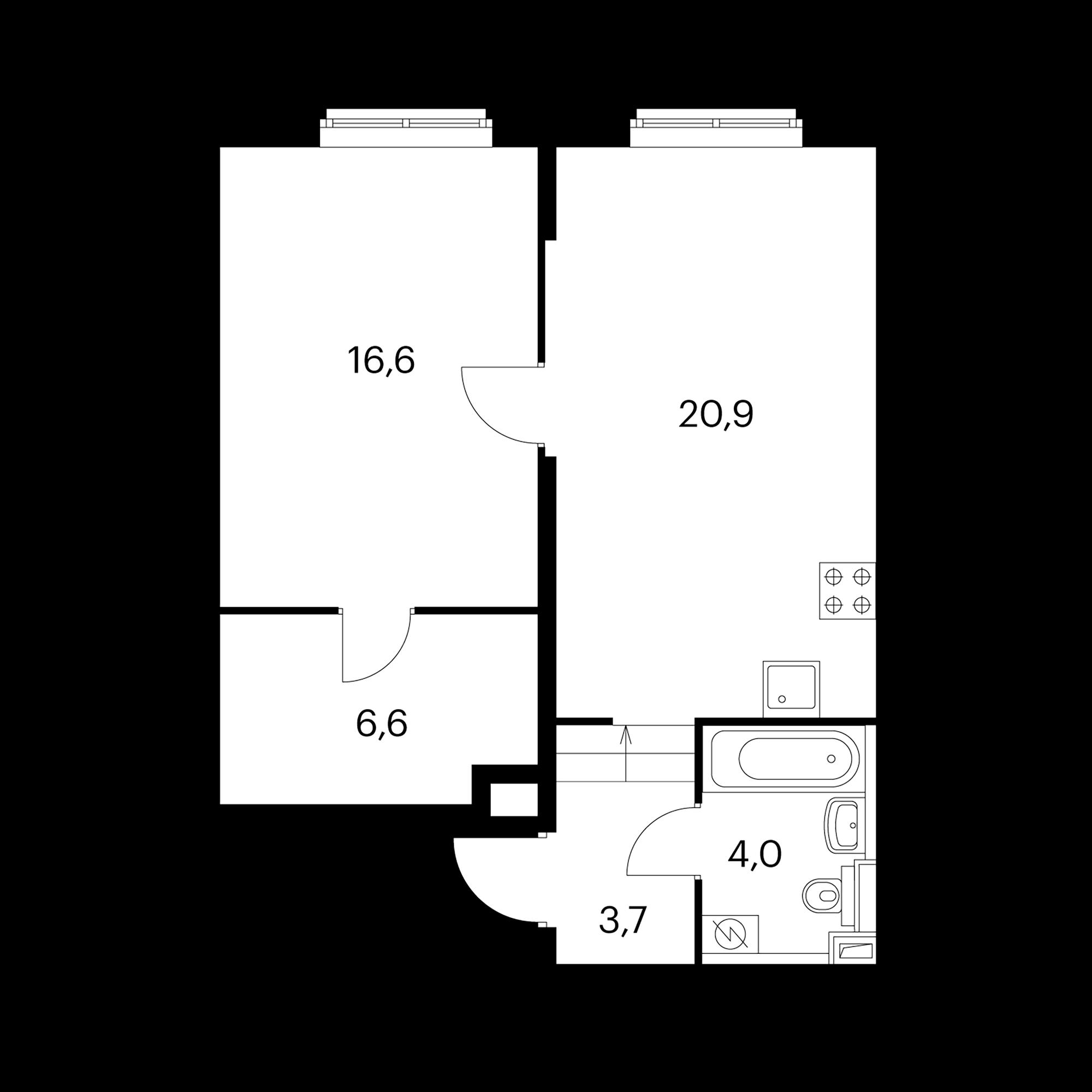 1-комнатная 51.8 м²