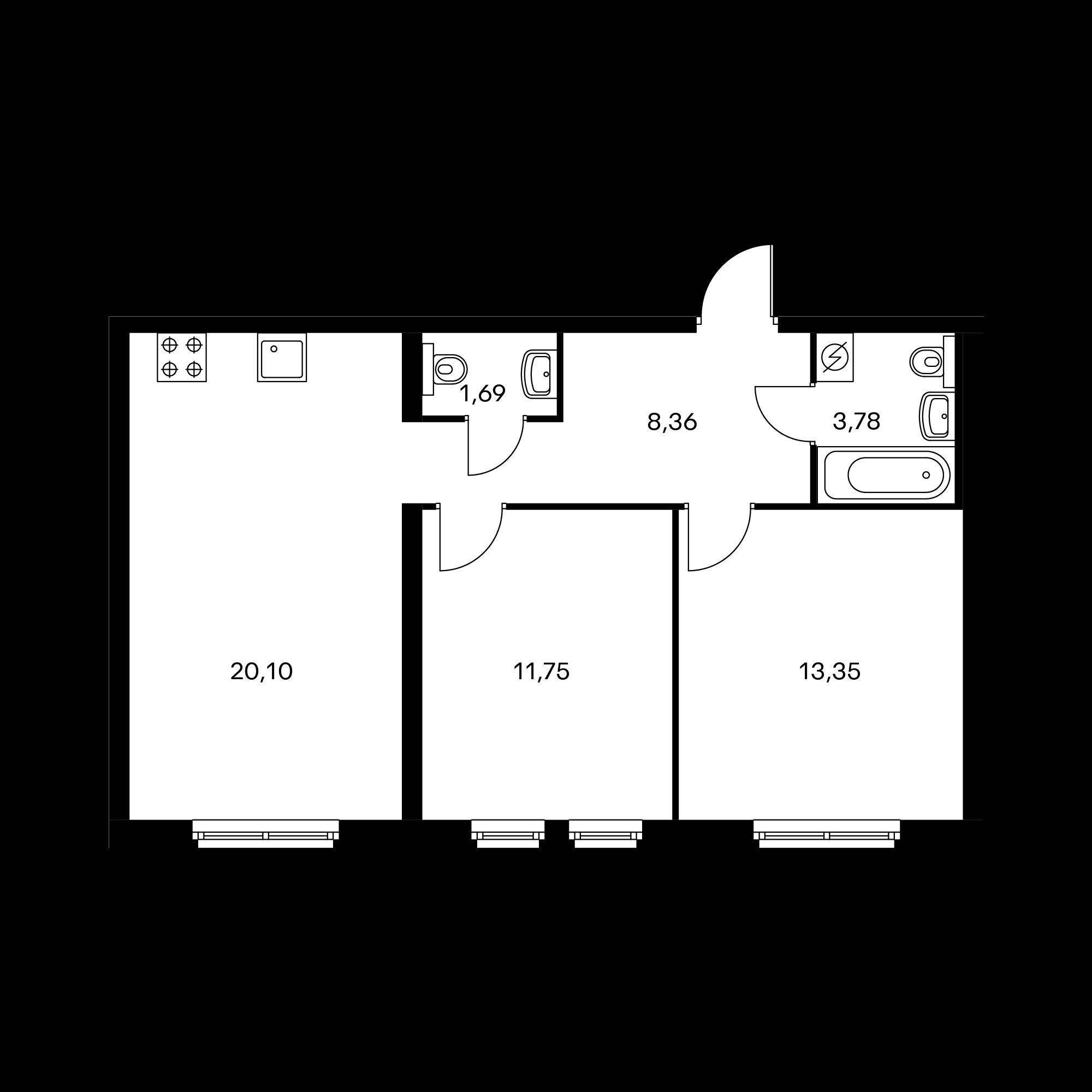 2-комнатная 59.03  м²