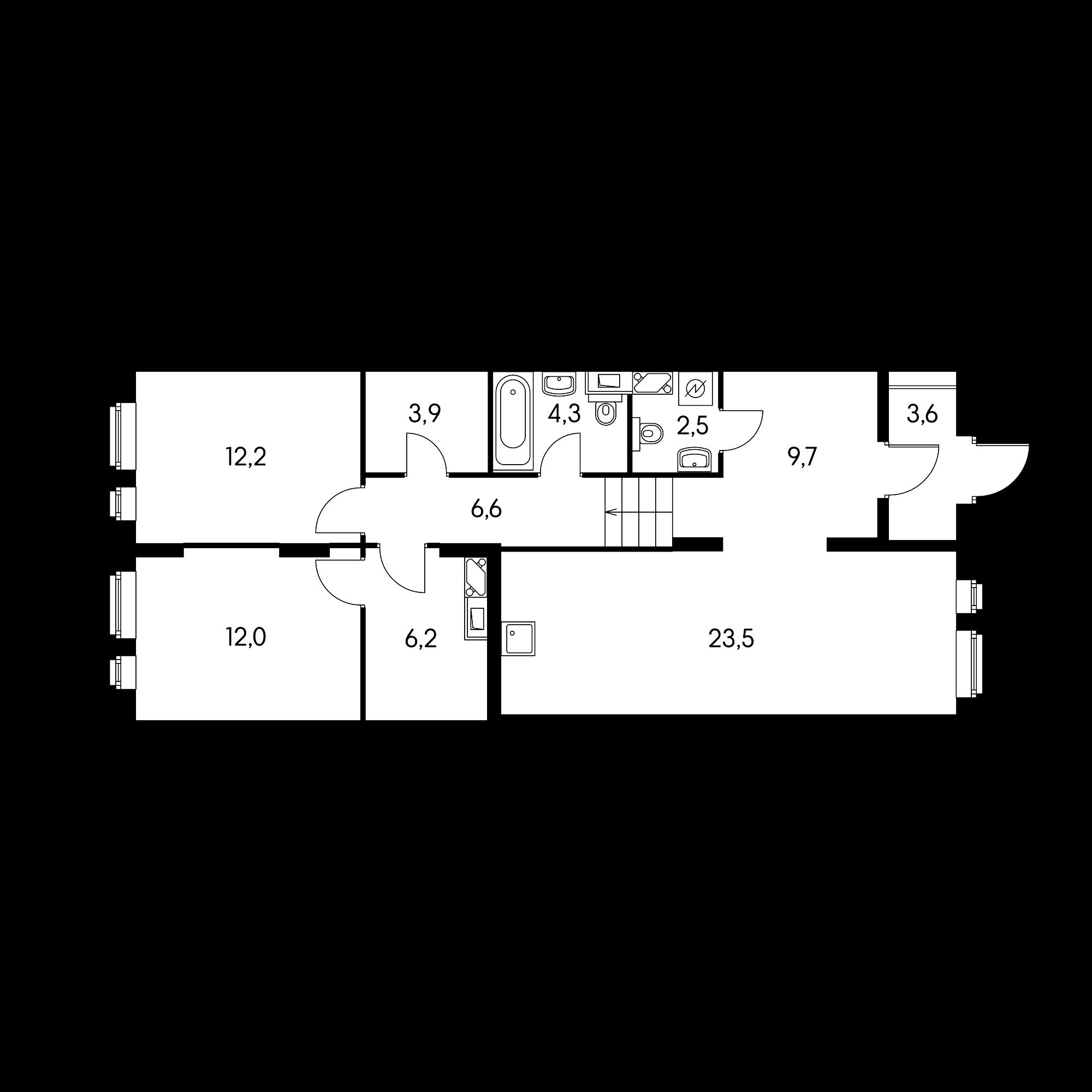 2-комнатная 83.9 м²