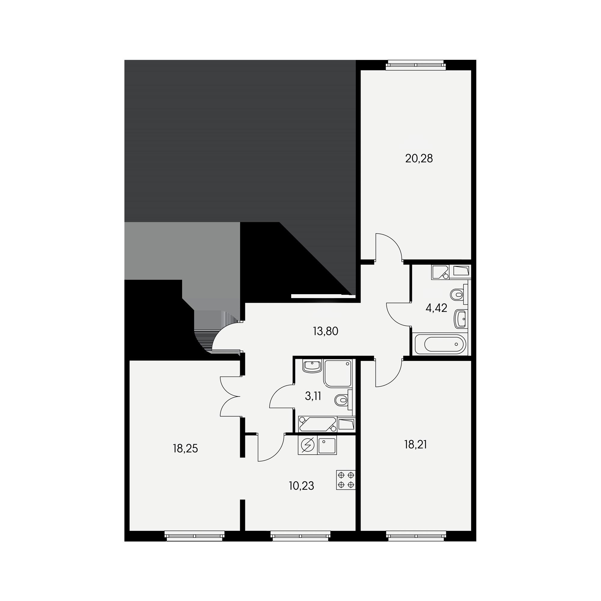 3-комнатная 86.3 м²