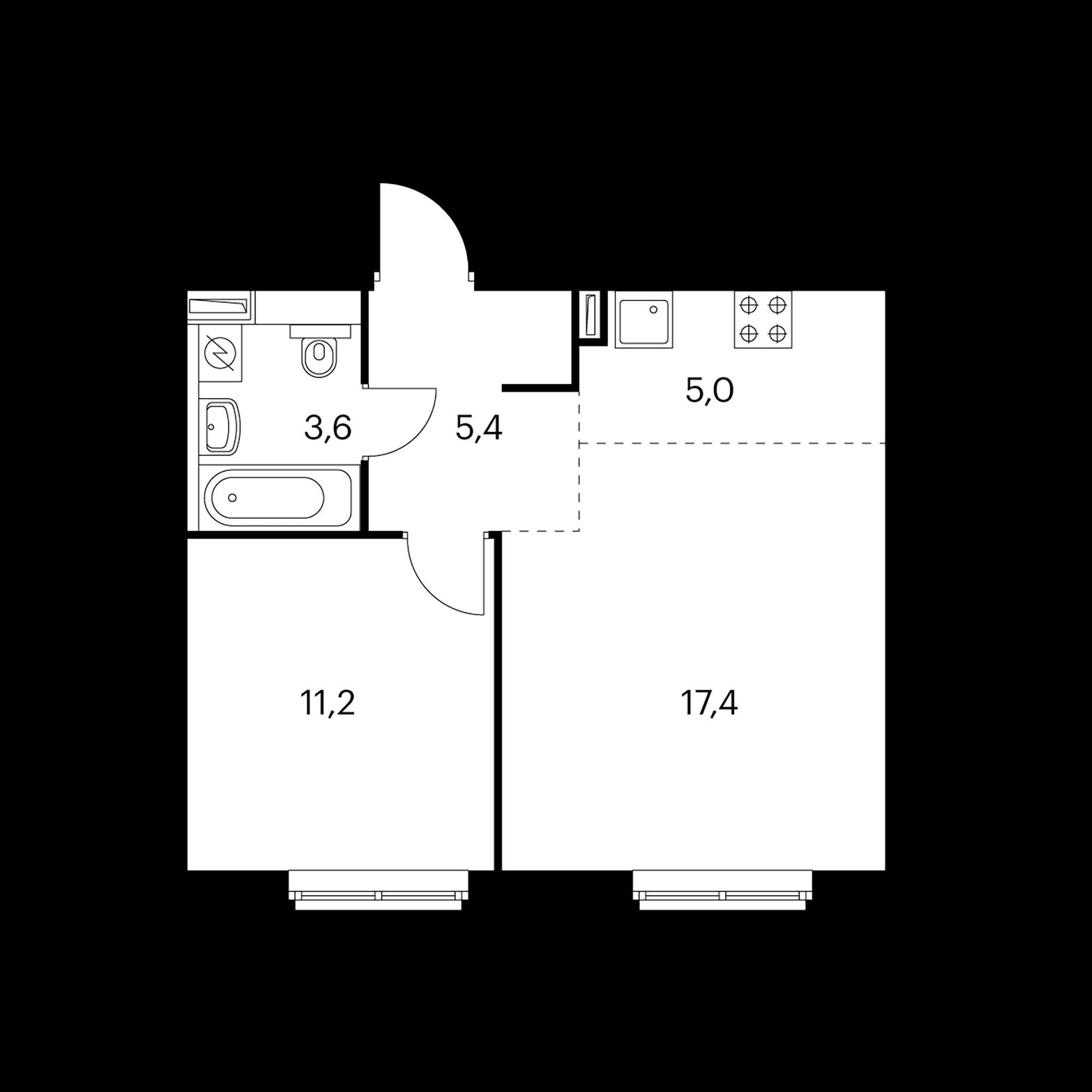 2-комнатная 42.9  м²