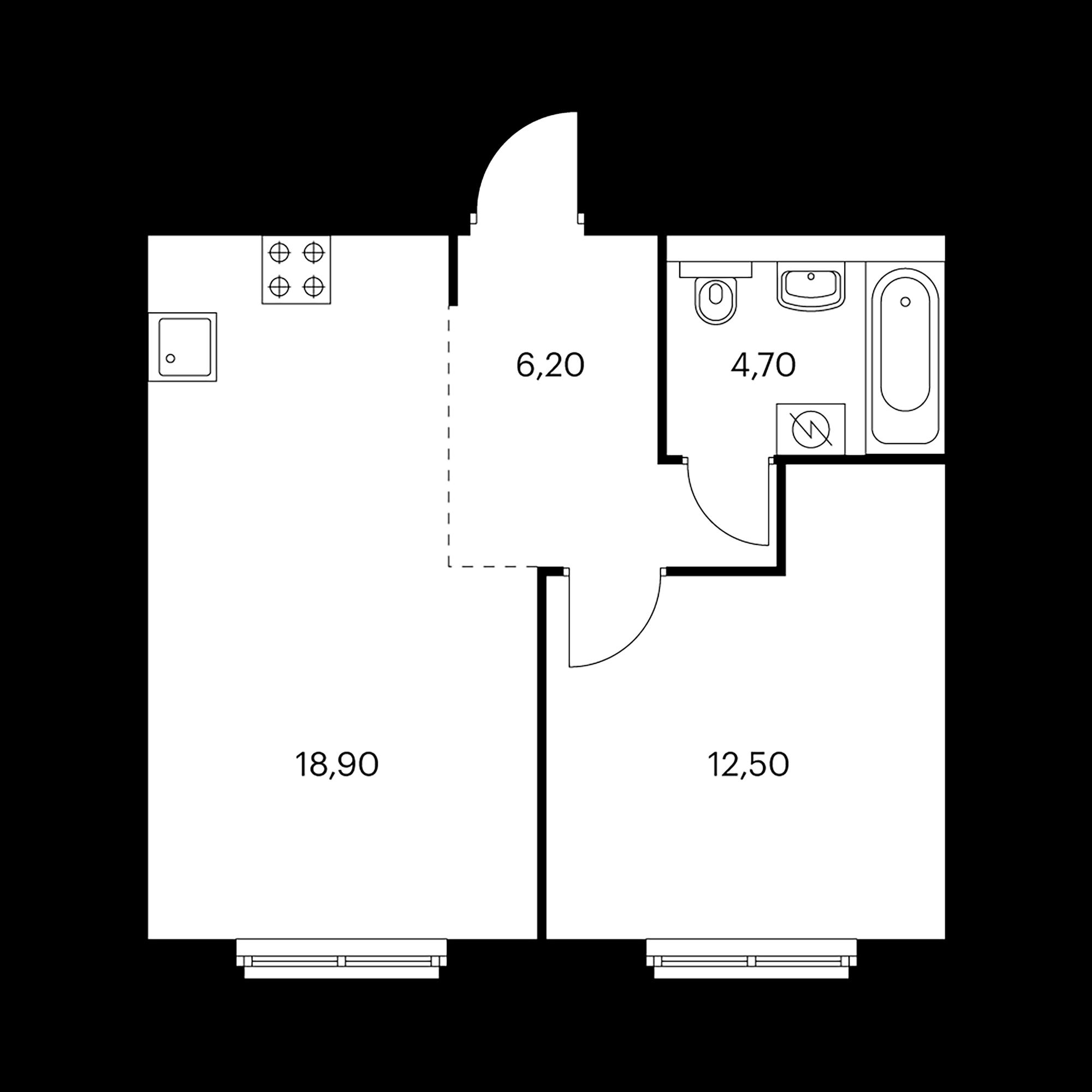 1-комнатная 42.3 м²