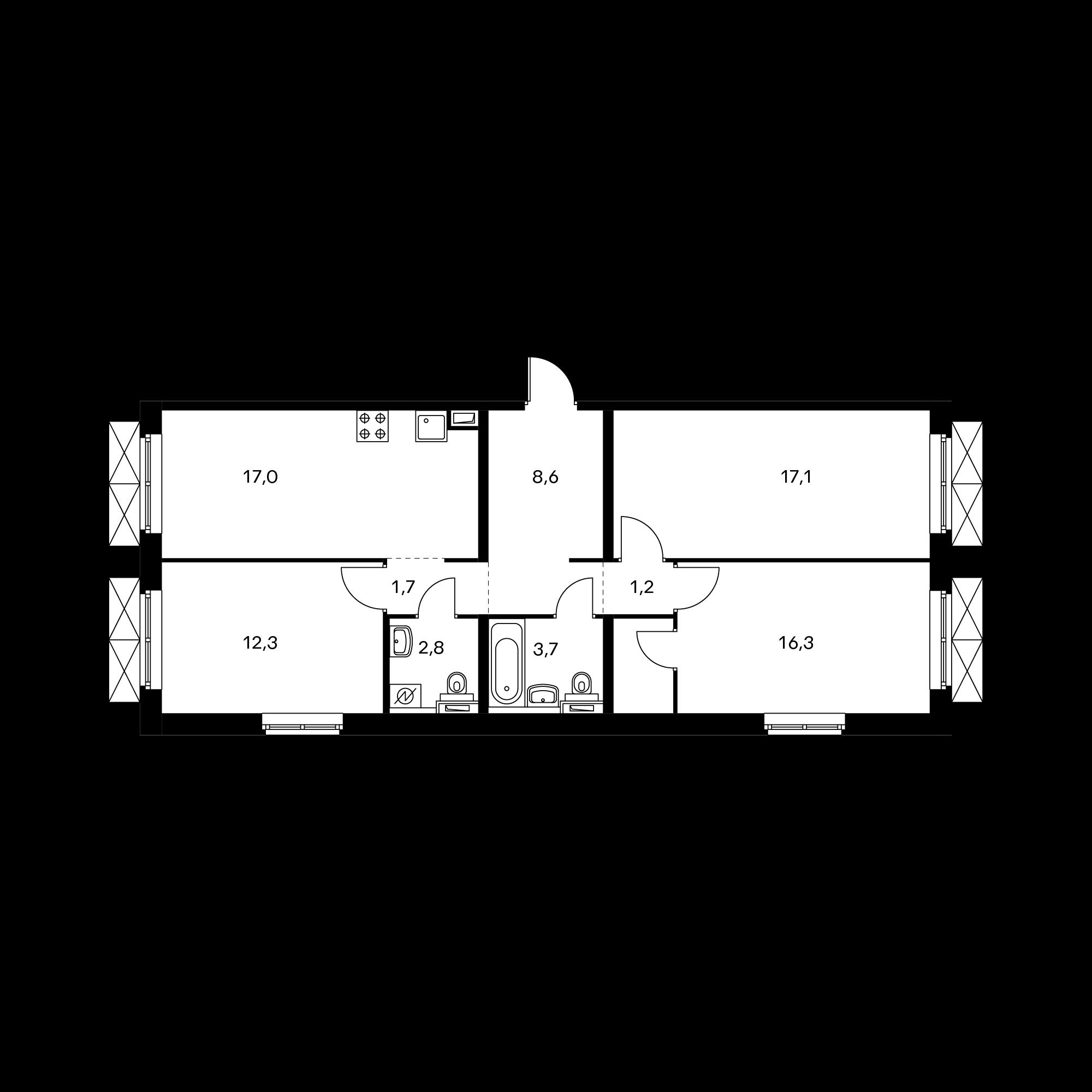 3-комнатная 80.8 м²