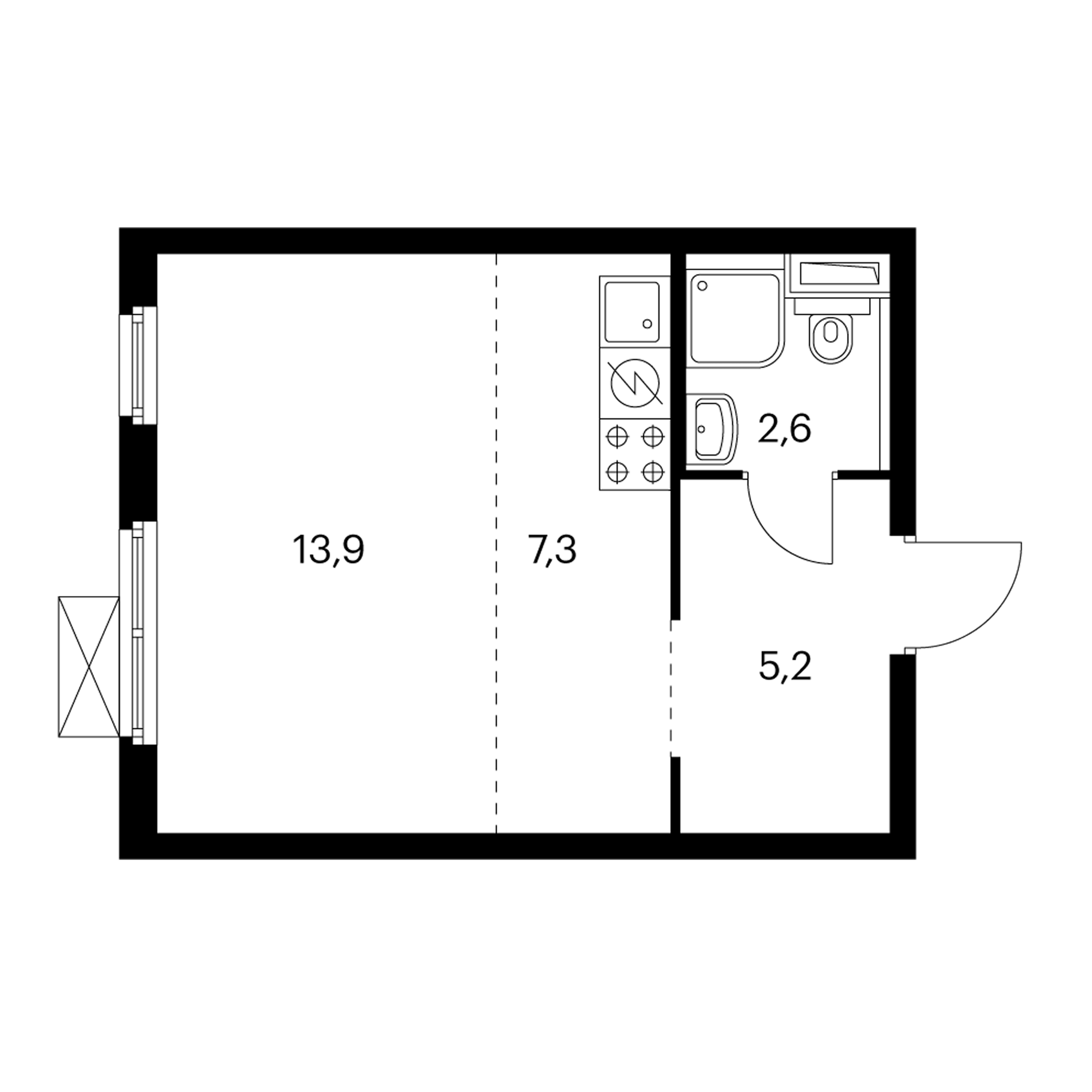 Студия 29 м²