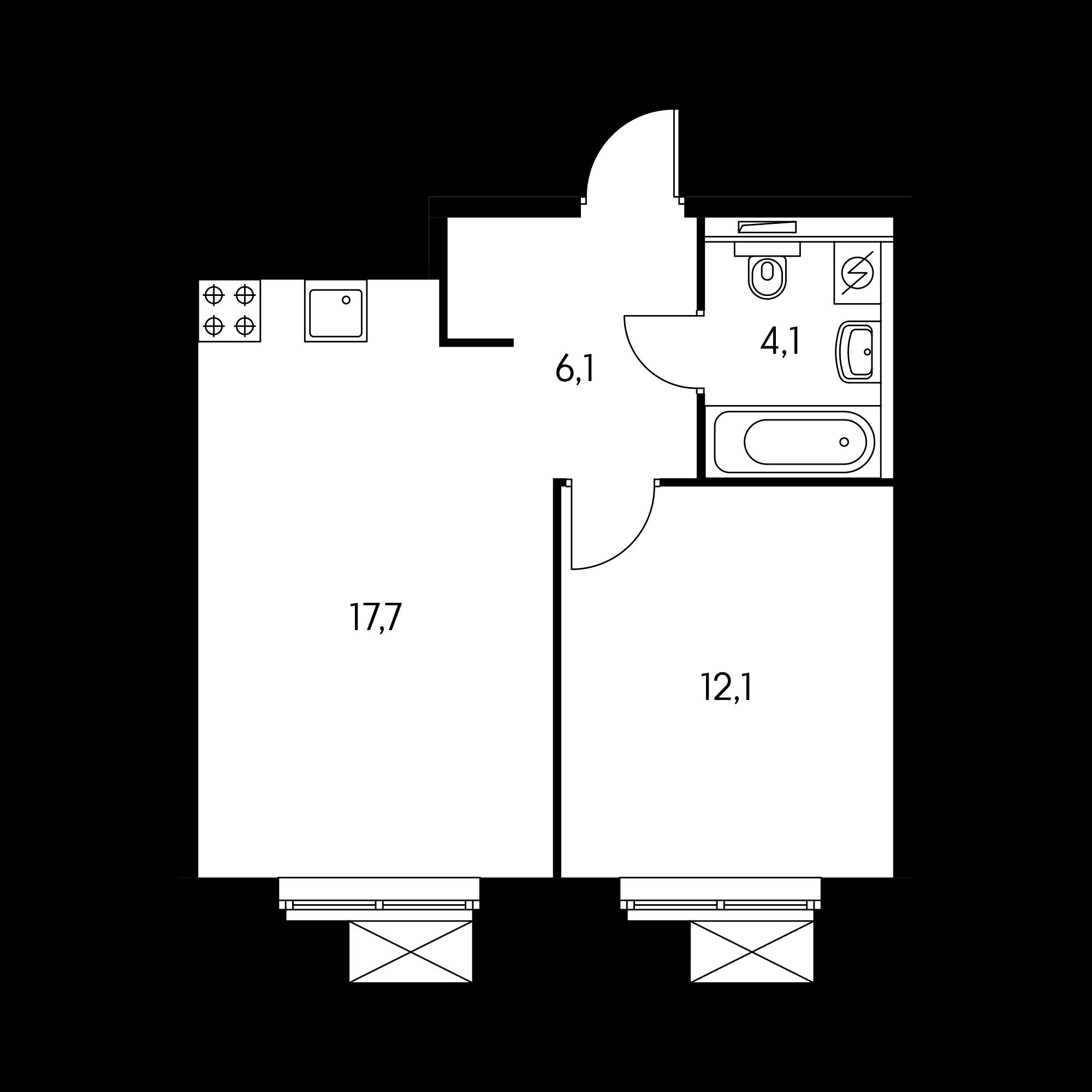 1-комнатная 39.7 м²