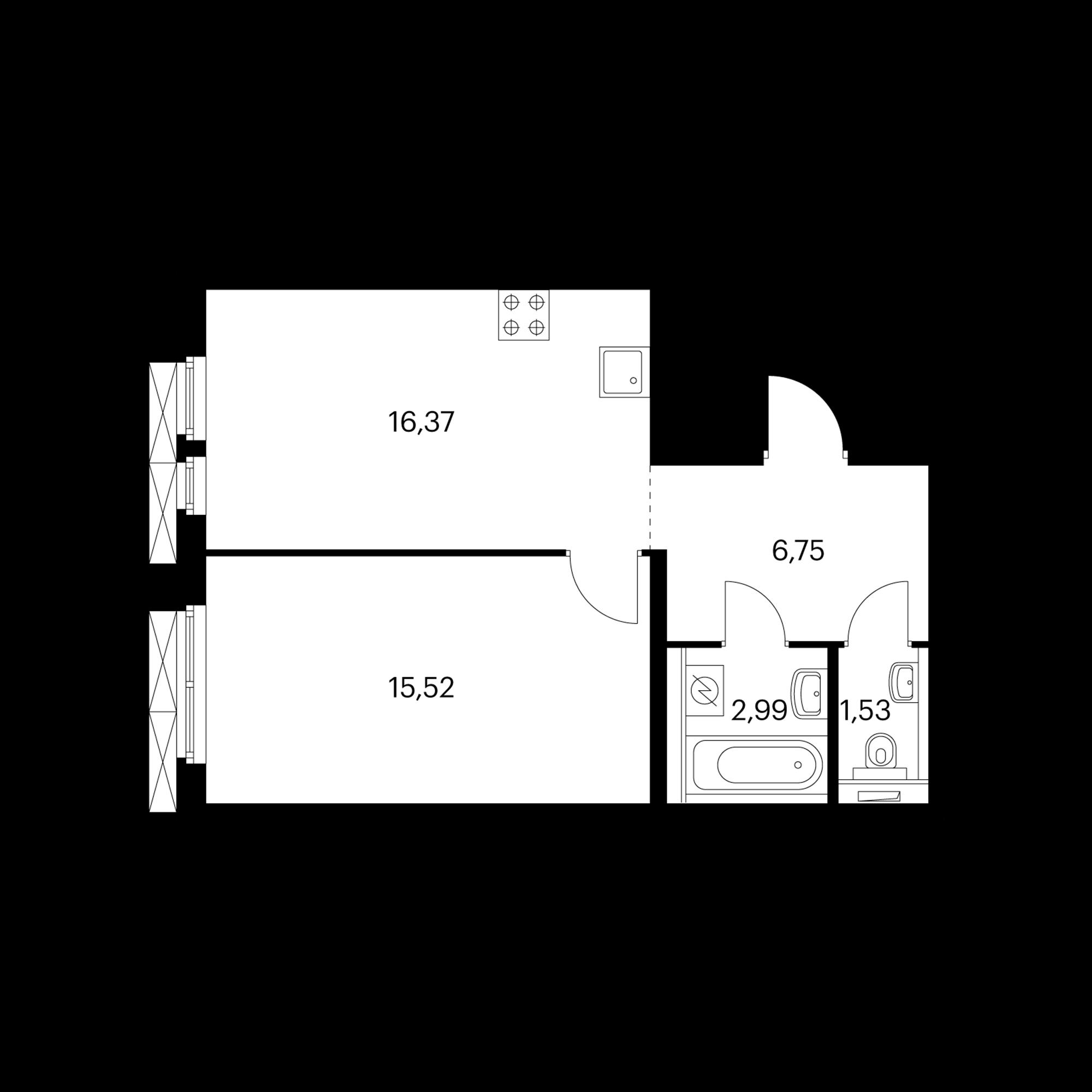 1-комнатная 43.86 м²
