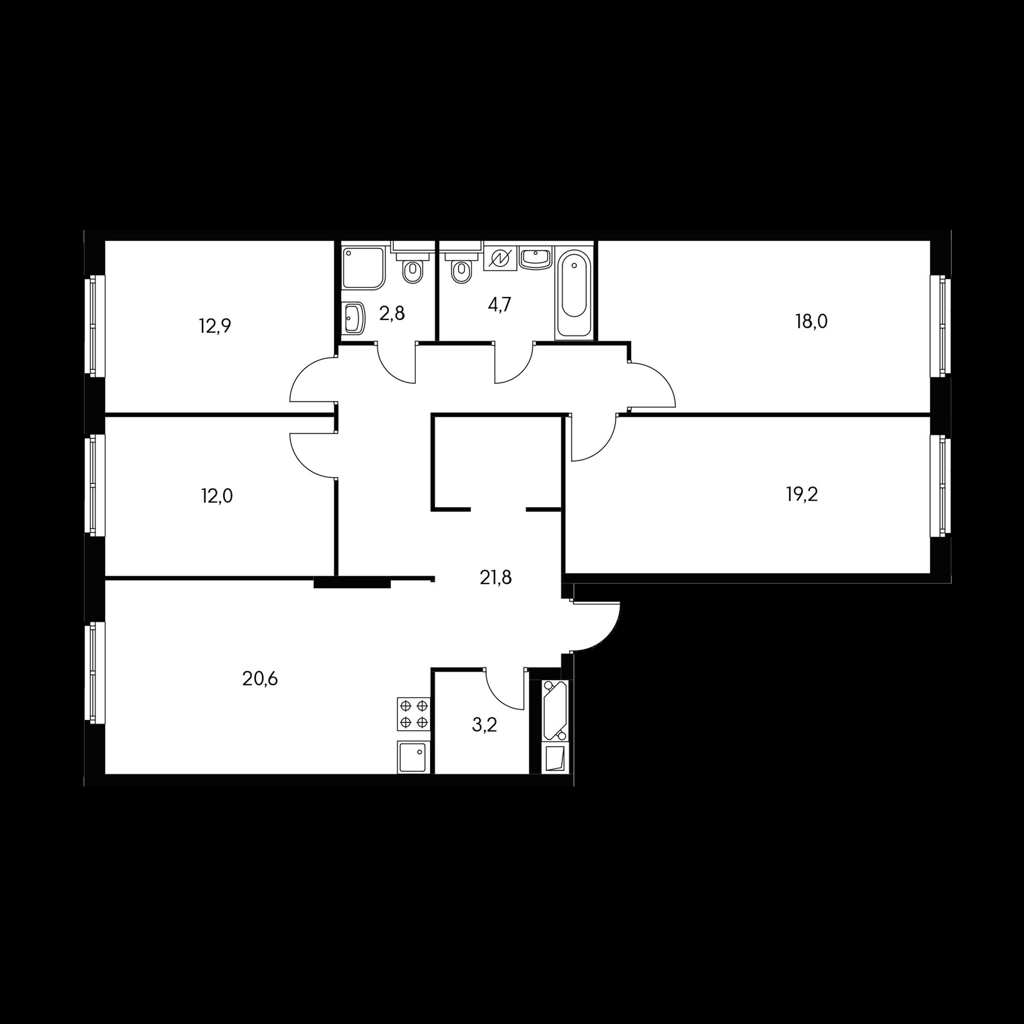 4-комнатная 112.6 м²