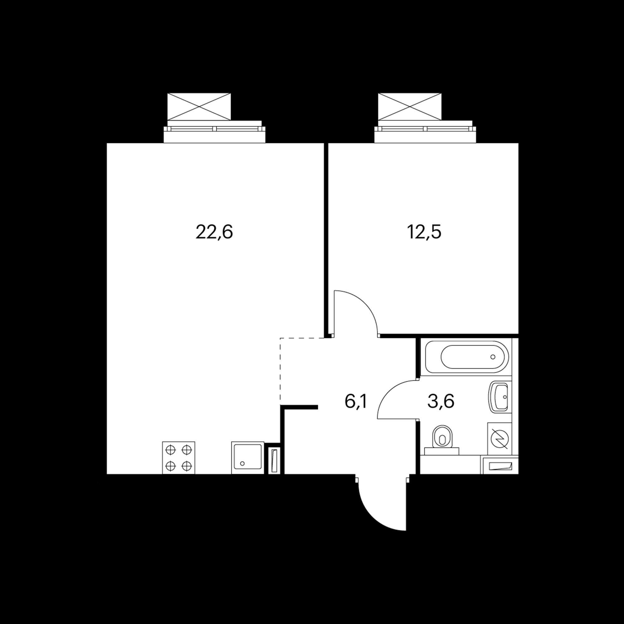 1-комнатная 45.3 м²