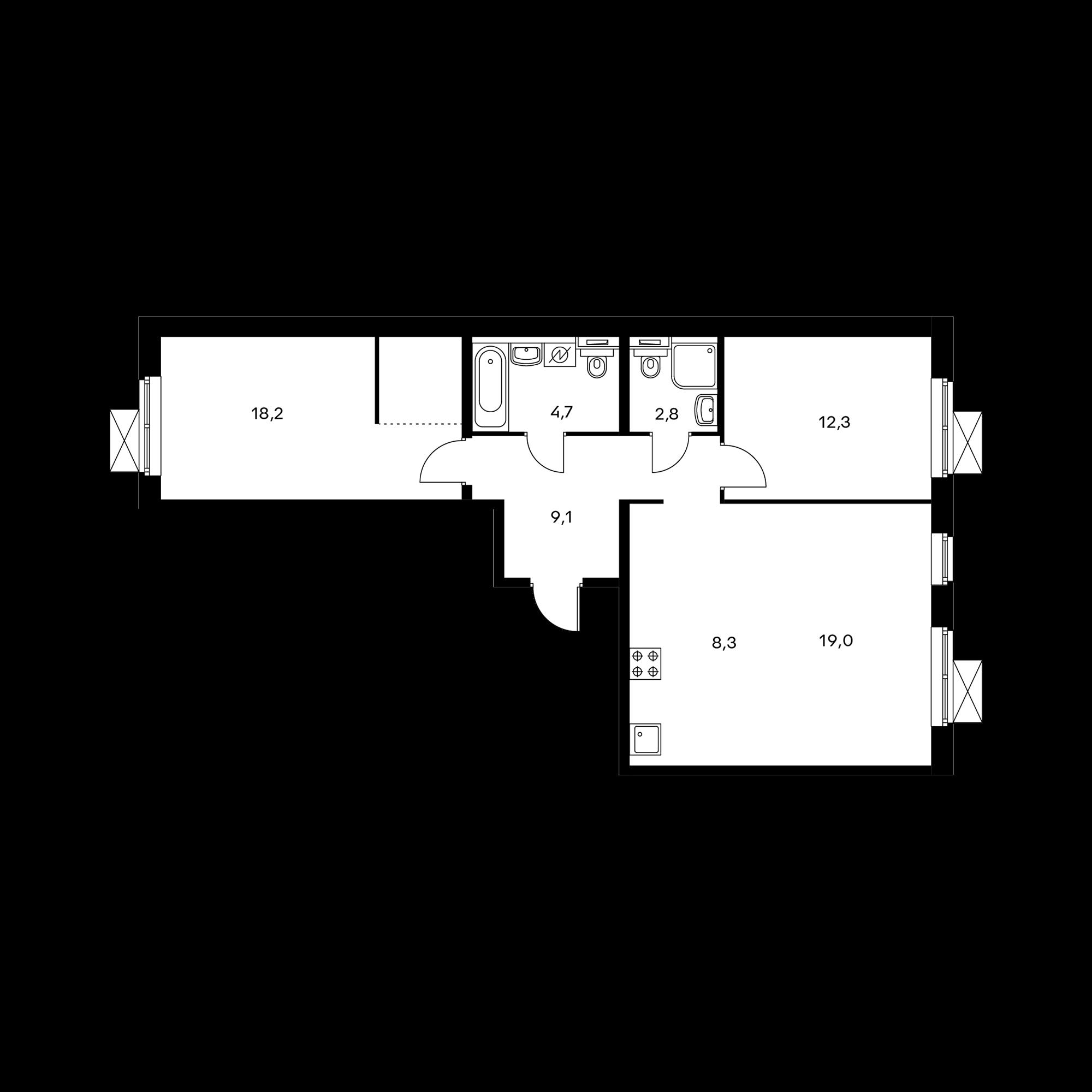 3-комнатная 73.7 м²