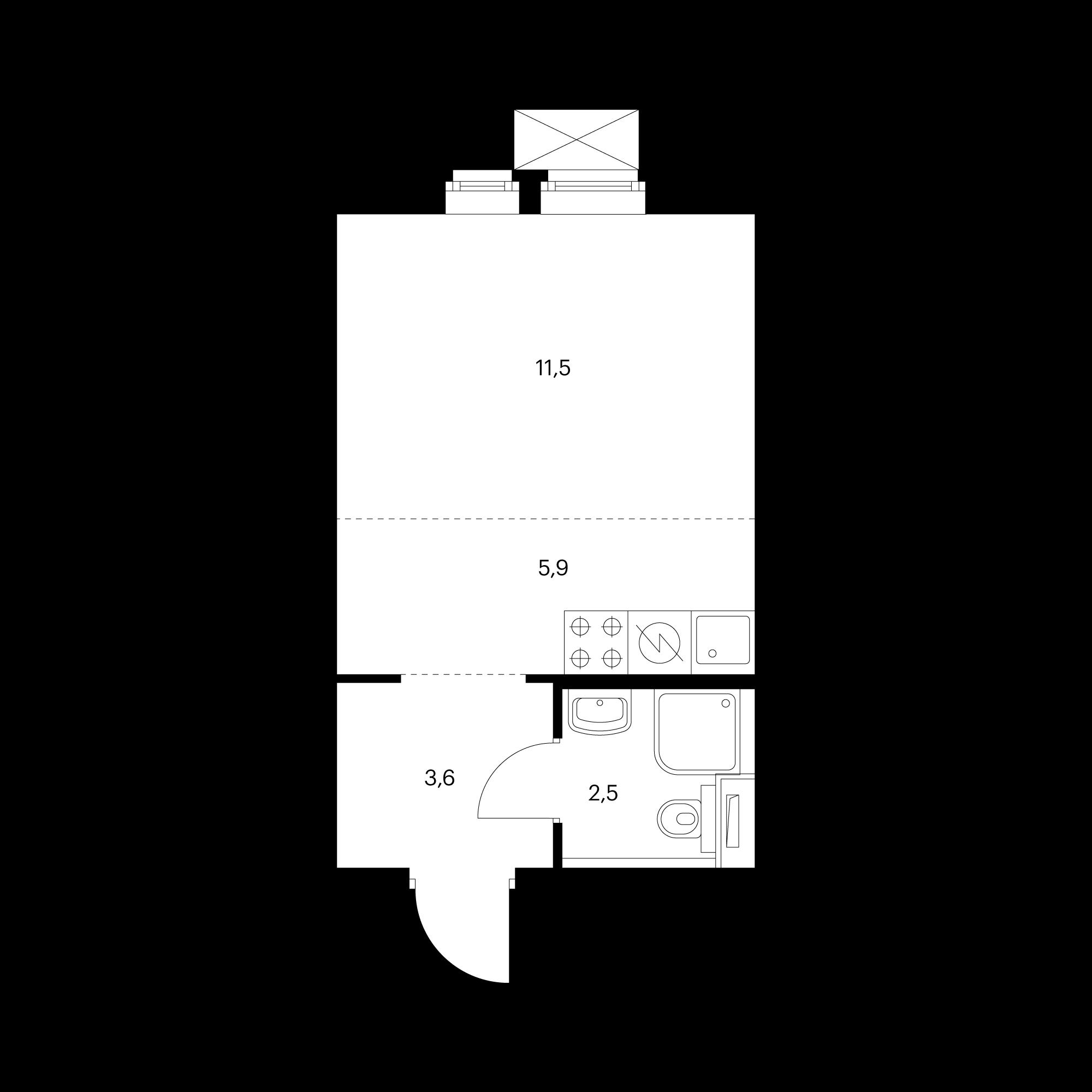 Студия 23.5 м²