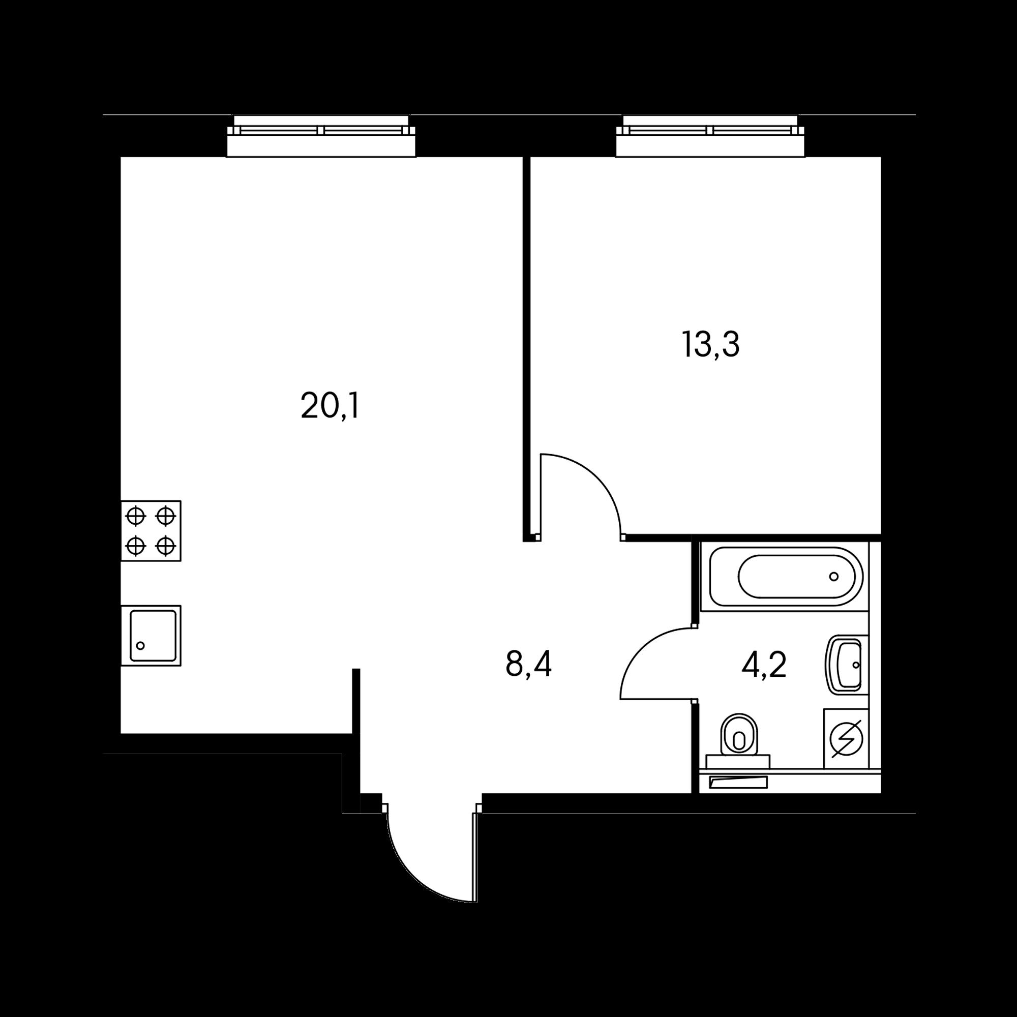 1-комнатная 46 м²