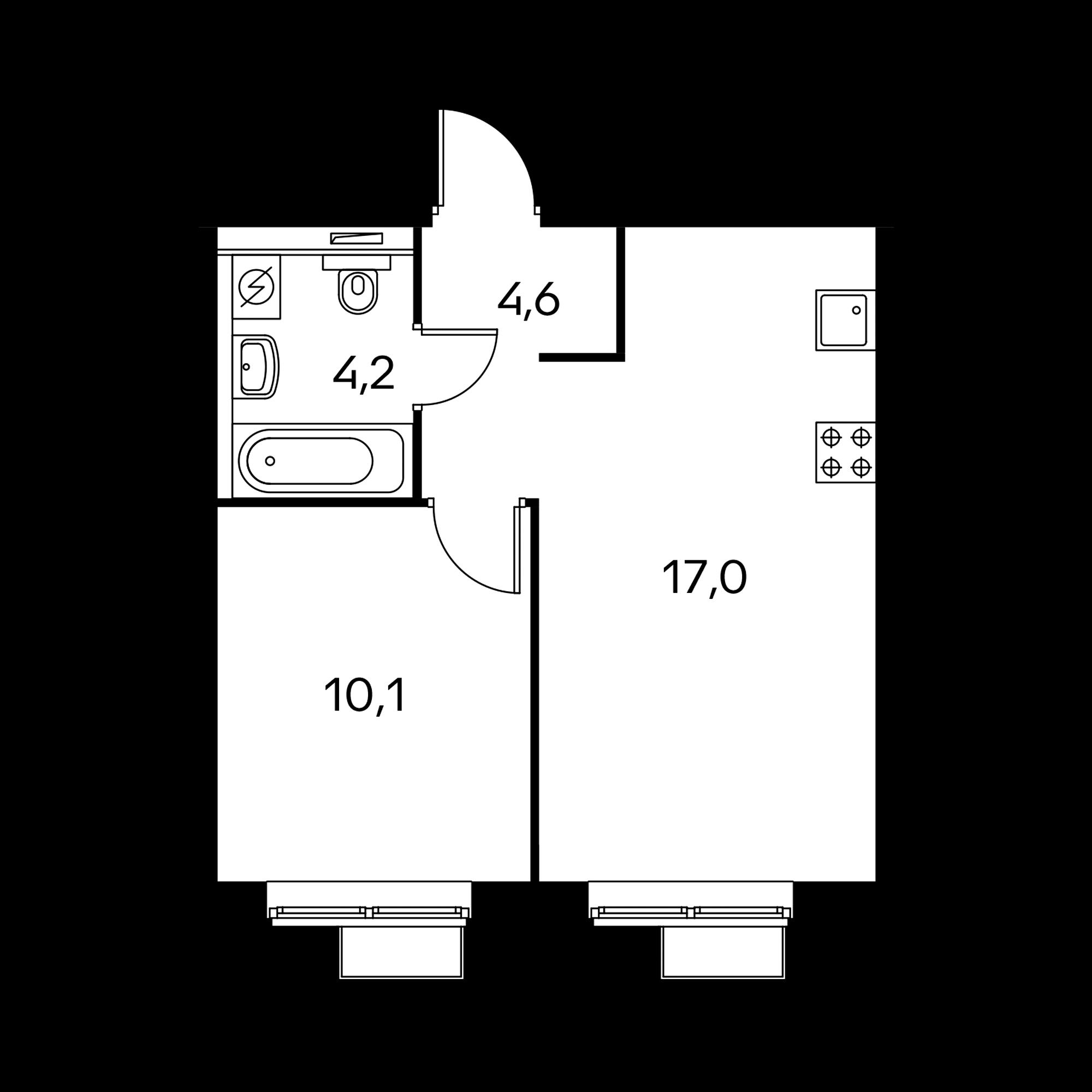 1-комнатная 36.2  м²