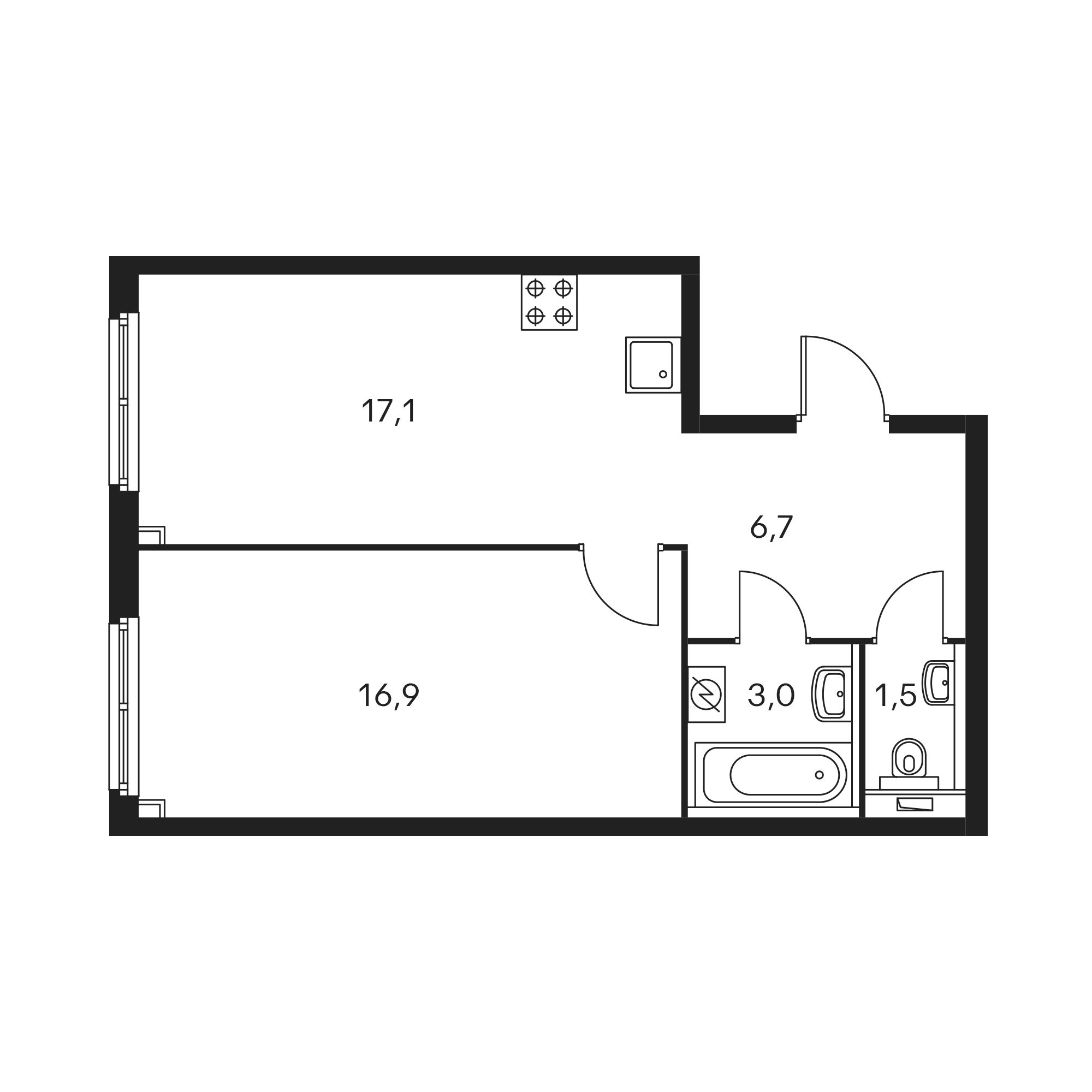 1-комнатная 45.4  м²