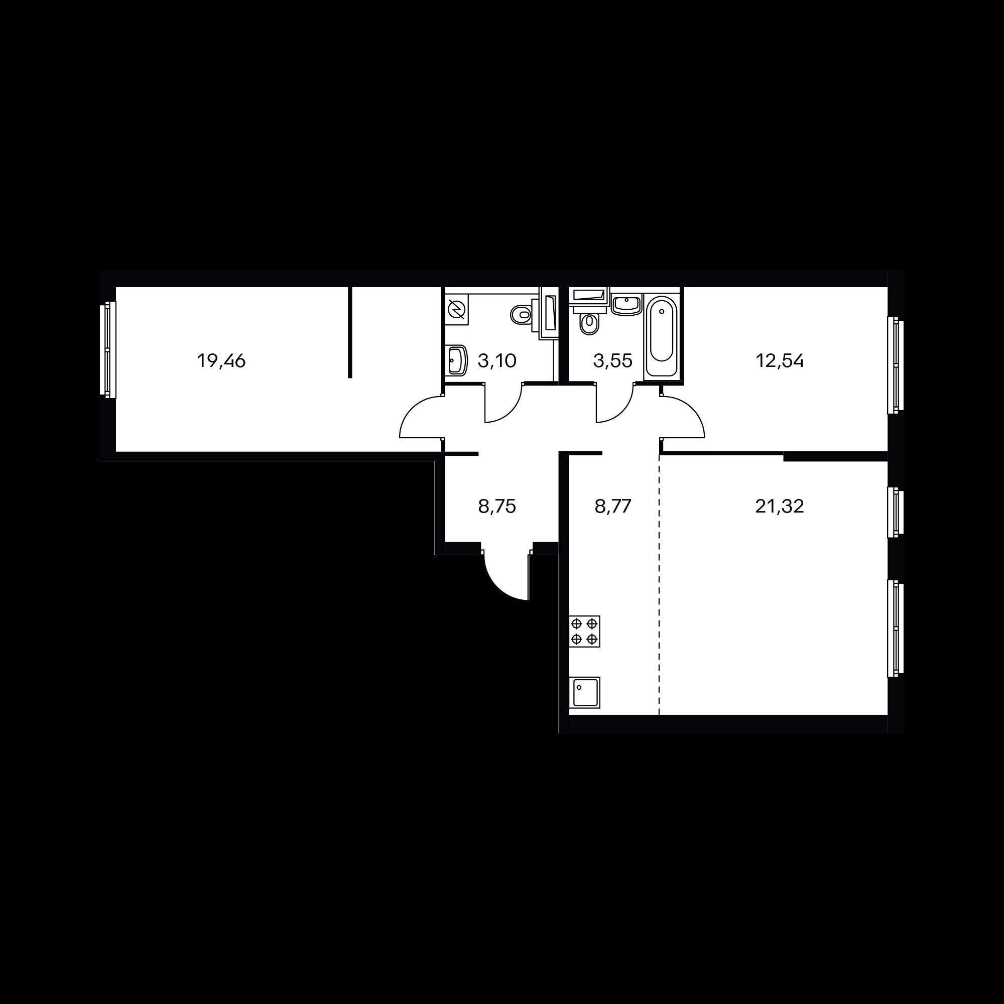 3-комнатная 77.48  м²