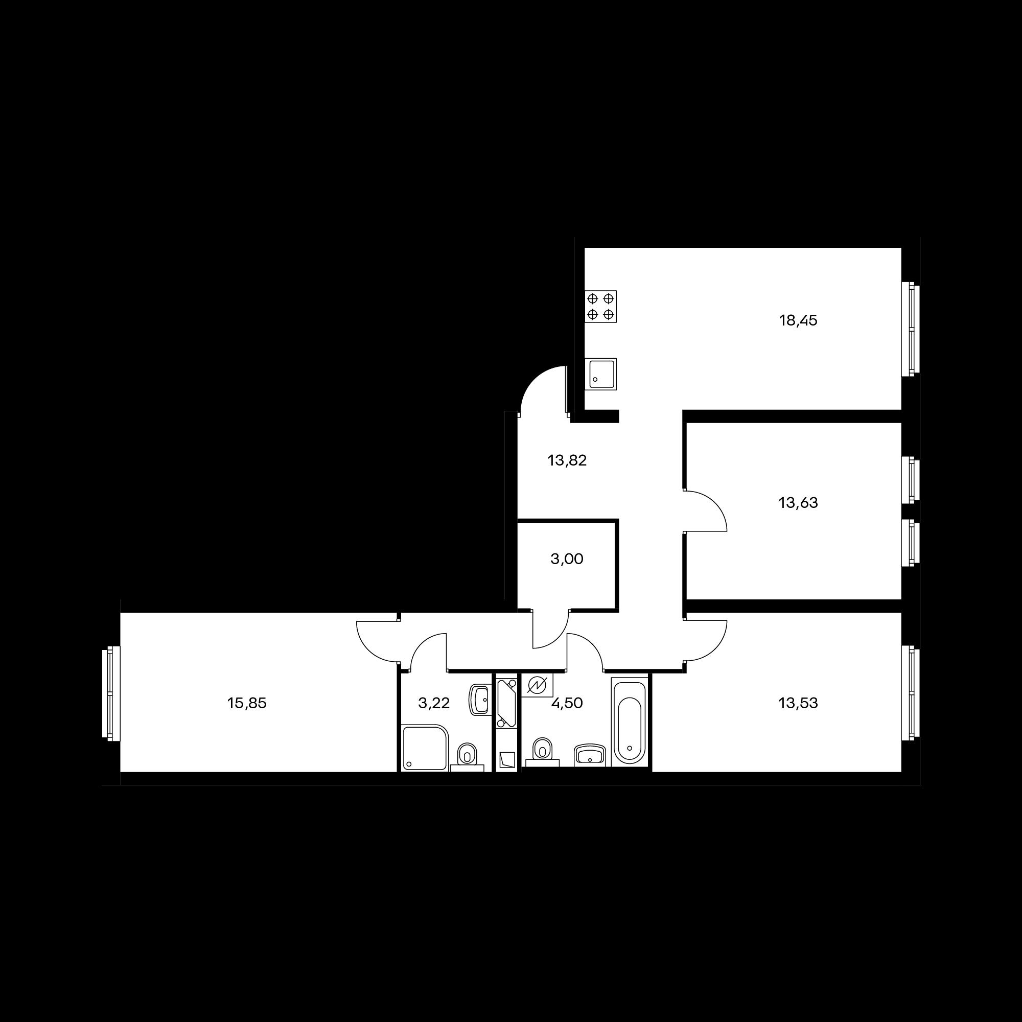 3-комнатная 86.72 м²