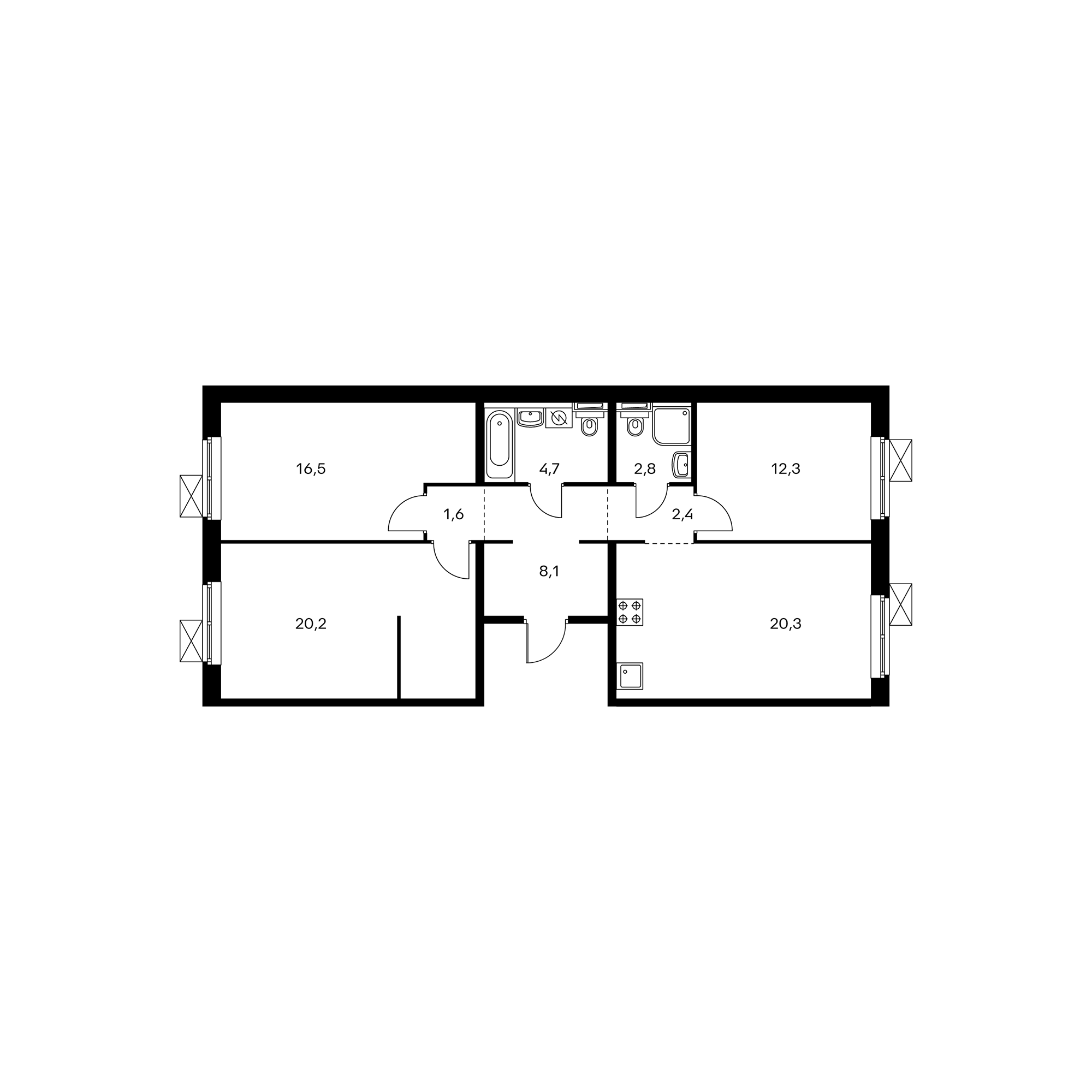3-комнатная 88.9  м²