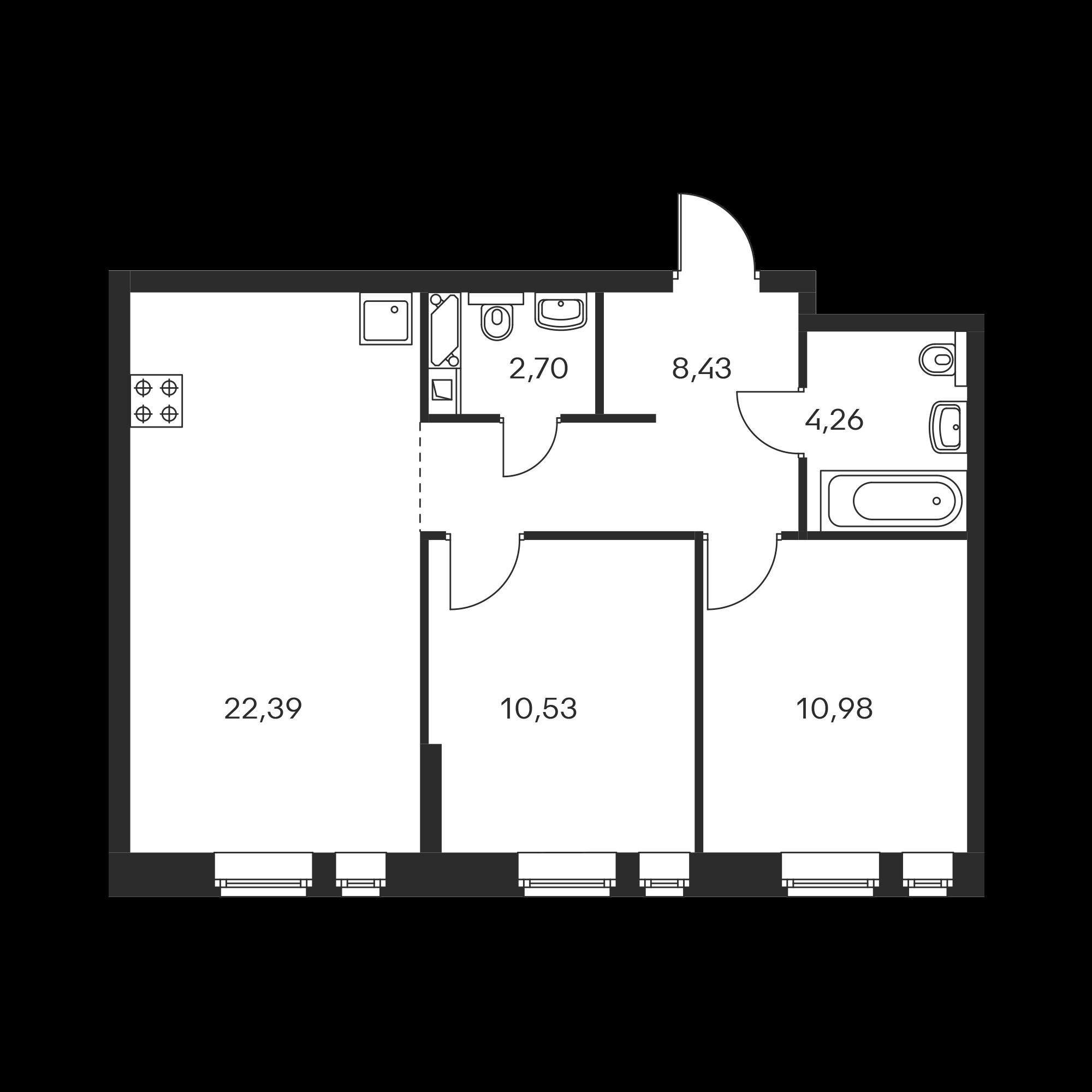 2-комнатная 59.29  м²